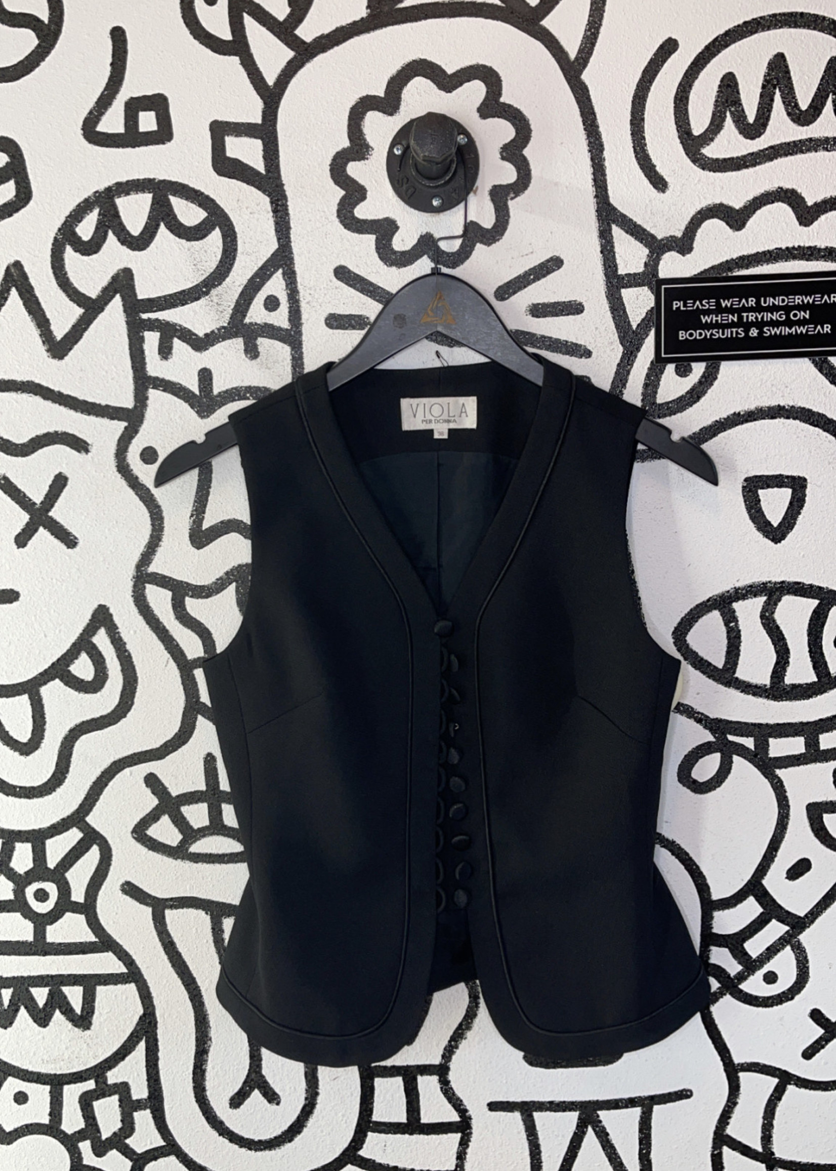 Viola per Donna Black Vintage Vest S