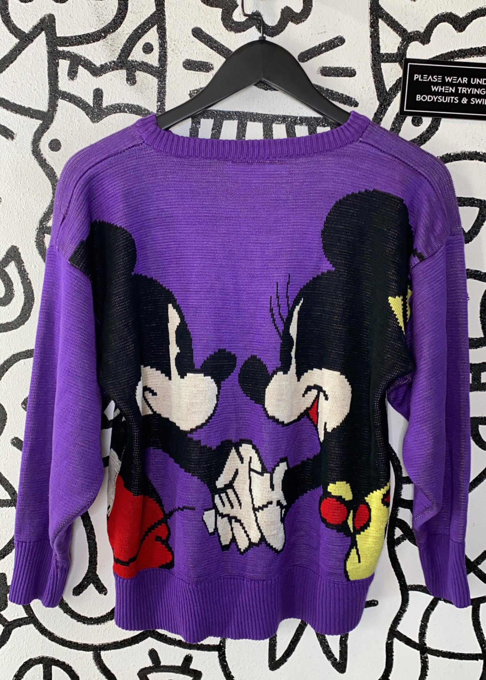 Vintage Sunday Comics Purple Mickey Sweater As Is M