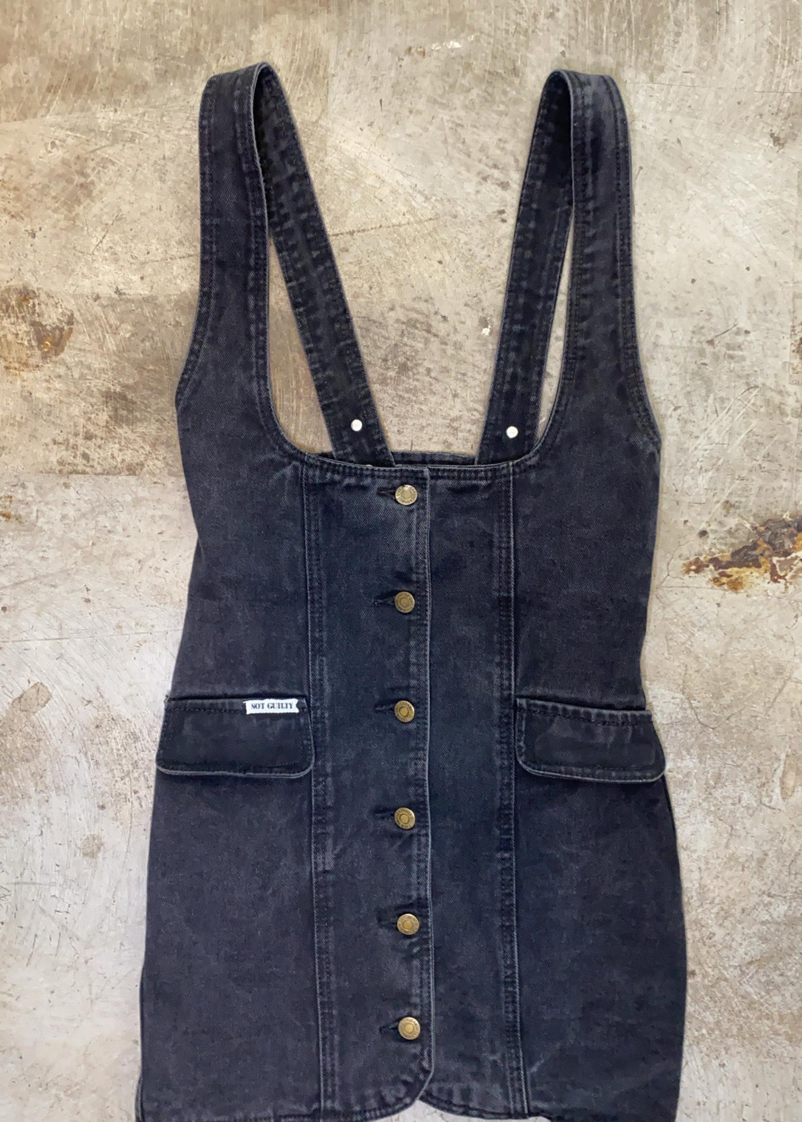 Vintage Not Guilty Black Denim Dress XS