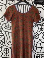 Vintage No Label Maroon Floral Print Dress S