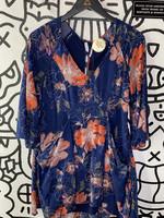 Free People Blue Floral Print Dress 4/S