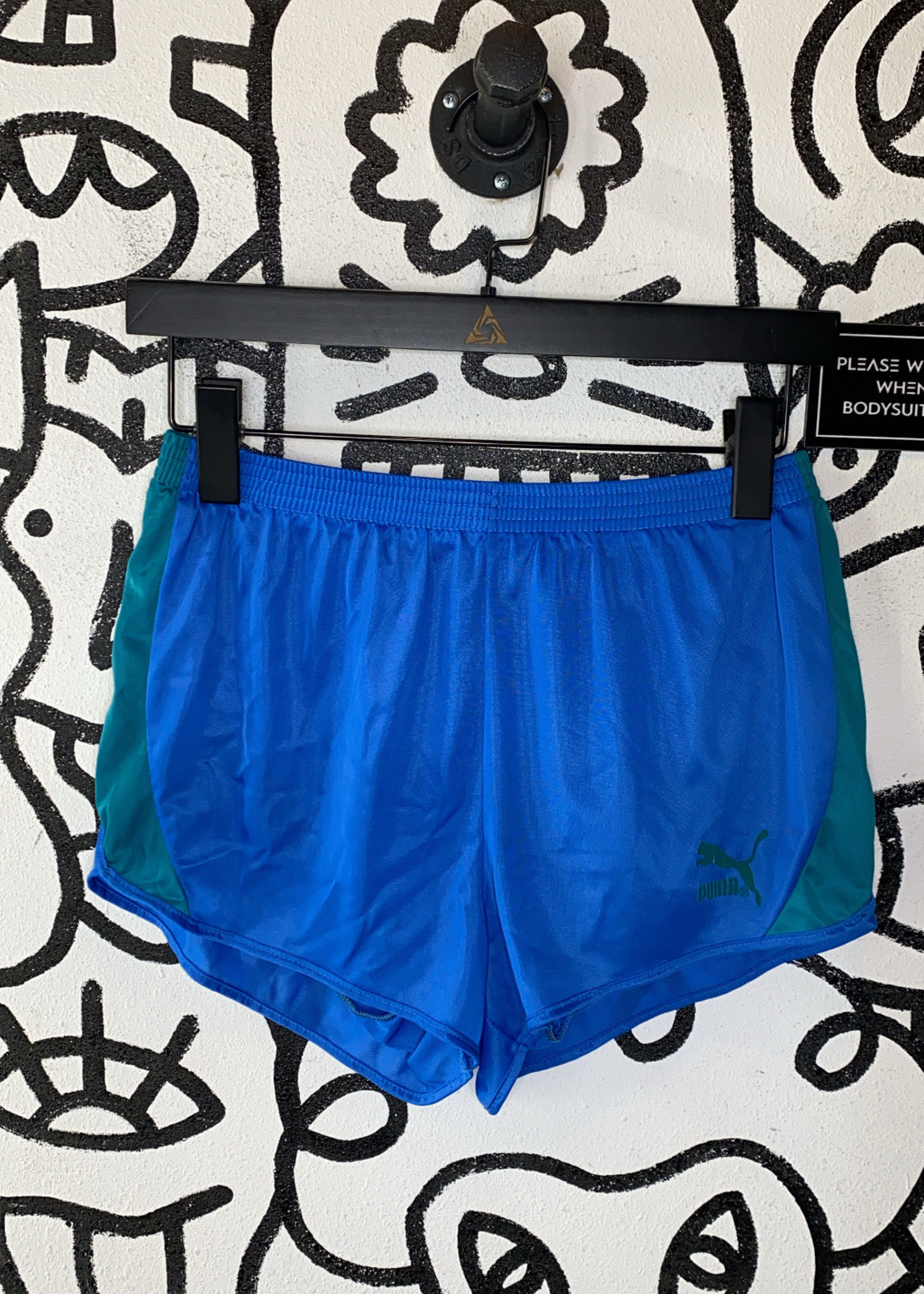 Vintage Puma blue and green running shorts XS