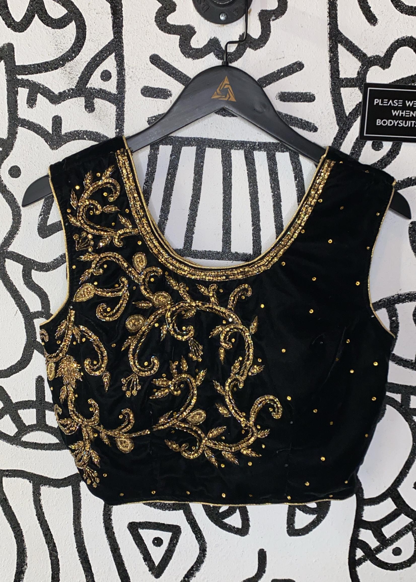 No Label Black Velvet Crop Tank with Gold Embellishment M