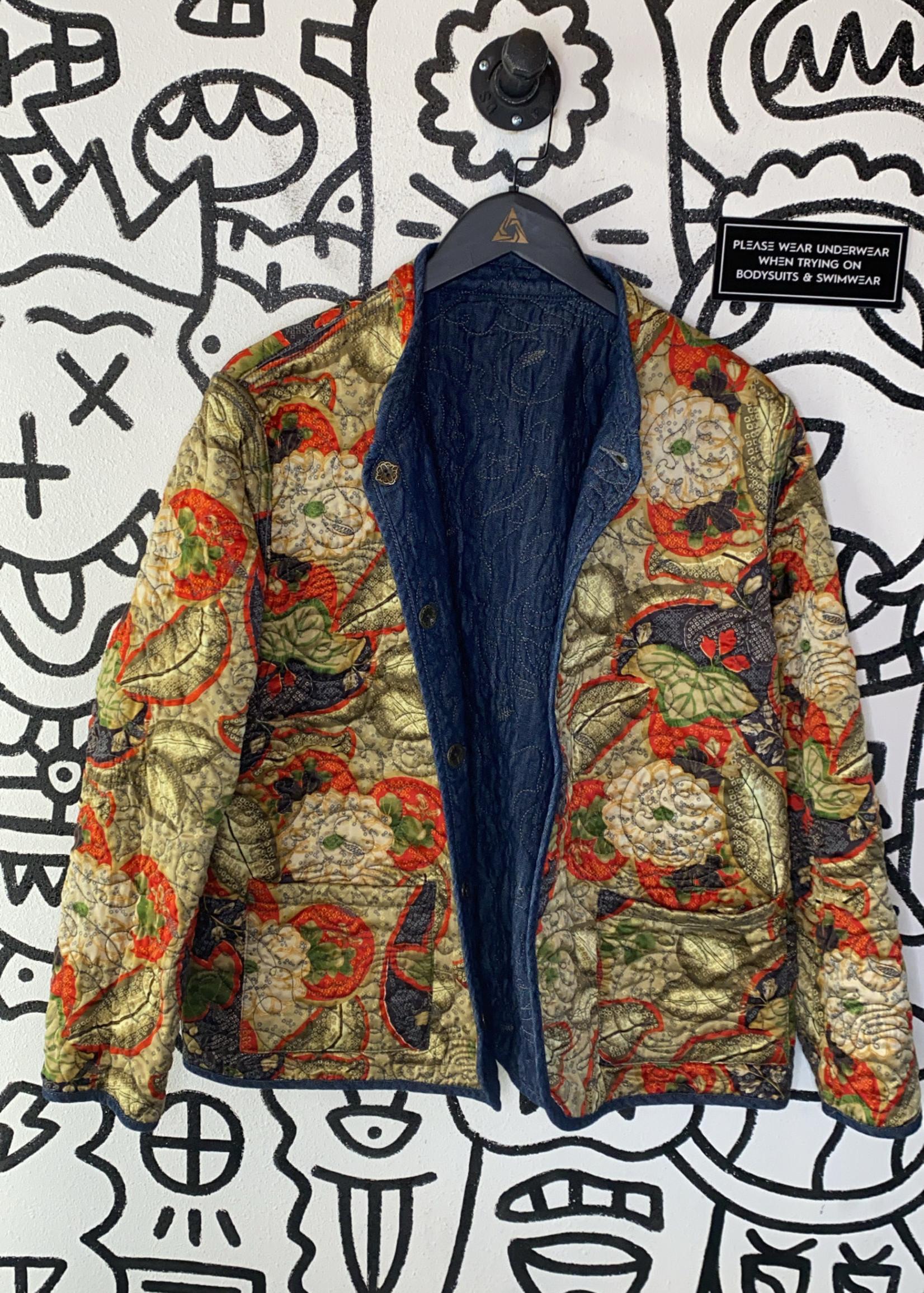 No LAbel Denim/Silk Reversible Jacket L