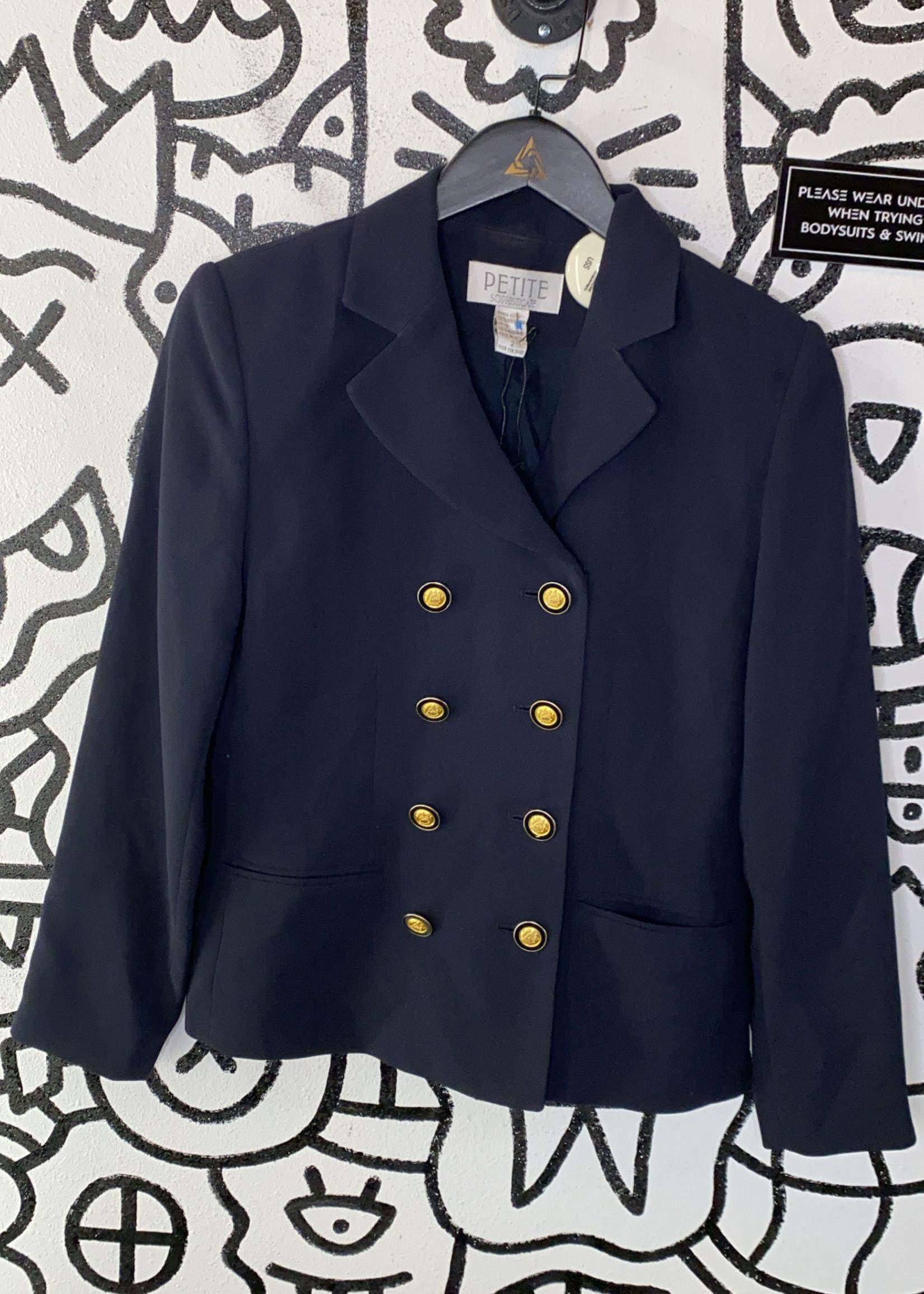 Petite Sophisticate Navy Button Blazer 2/XS