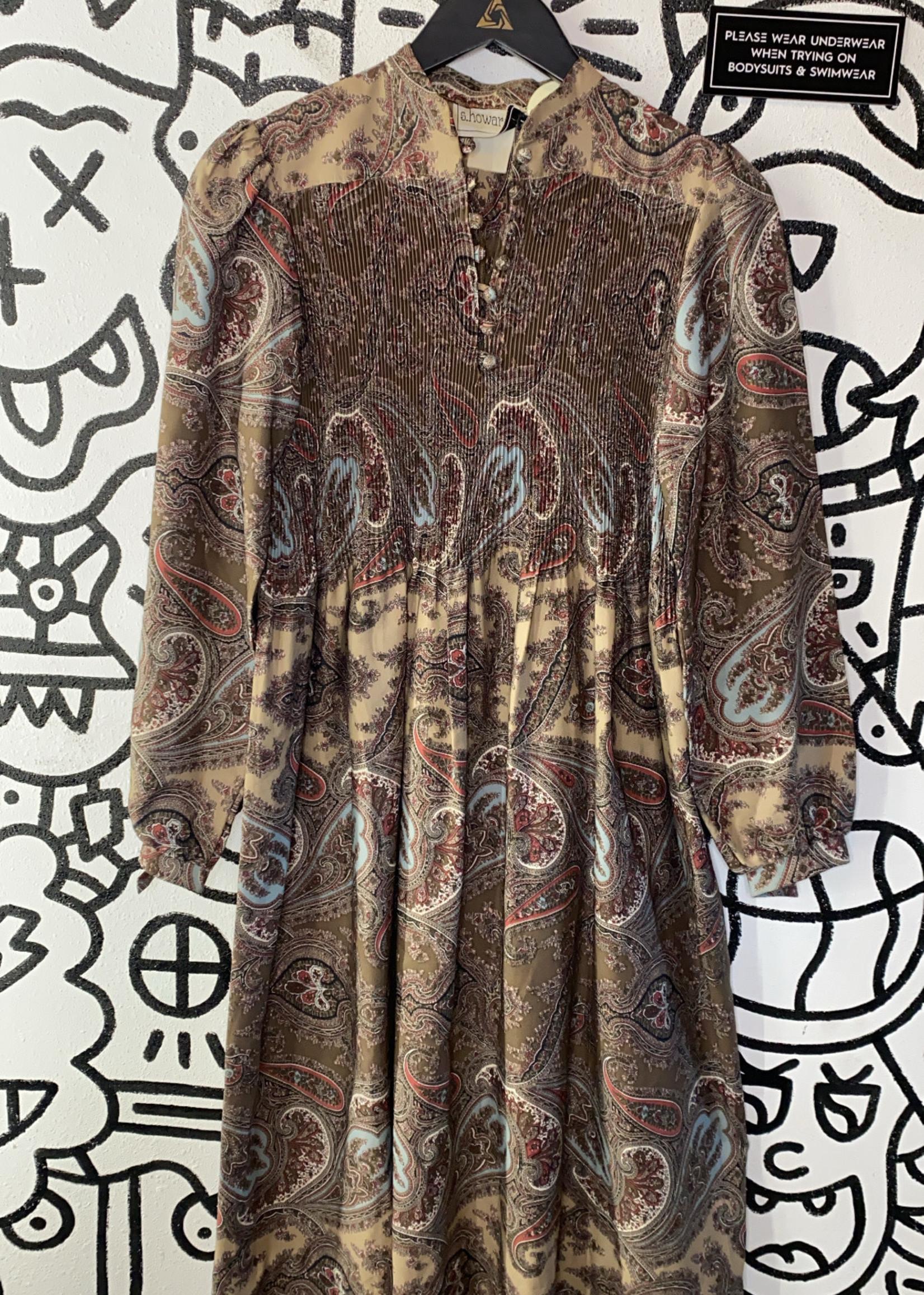 Vintage S Howard Hirsch Brown Paisley Dress S
