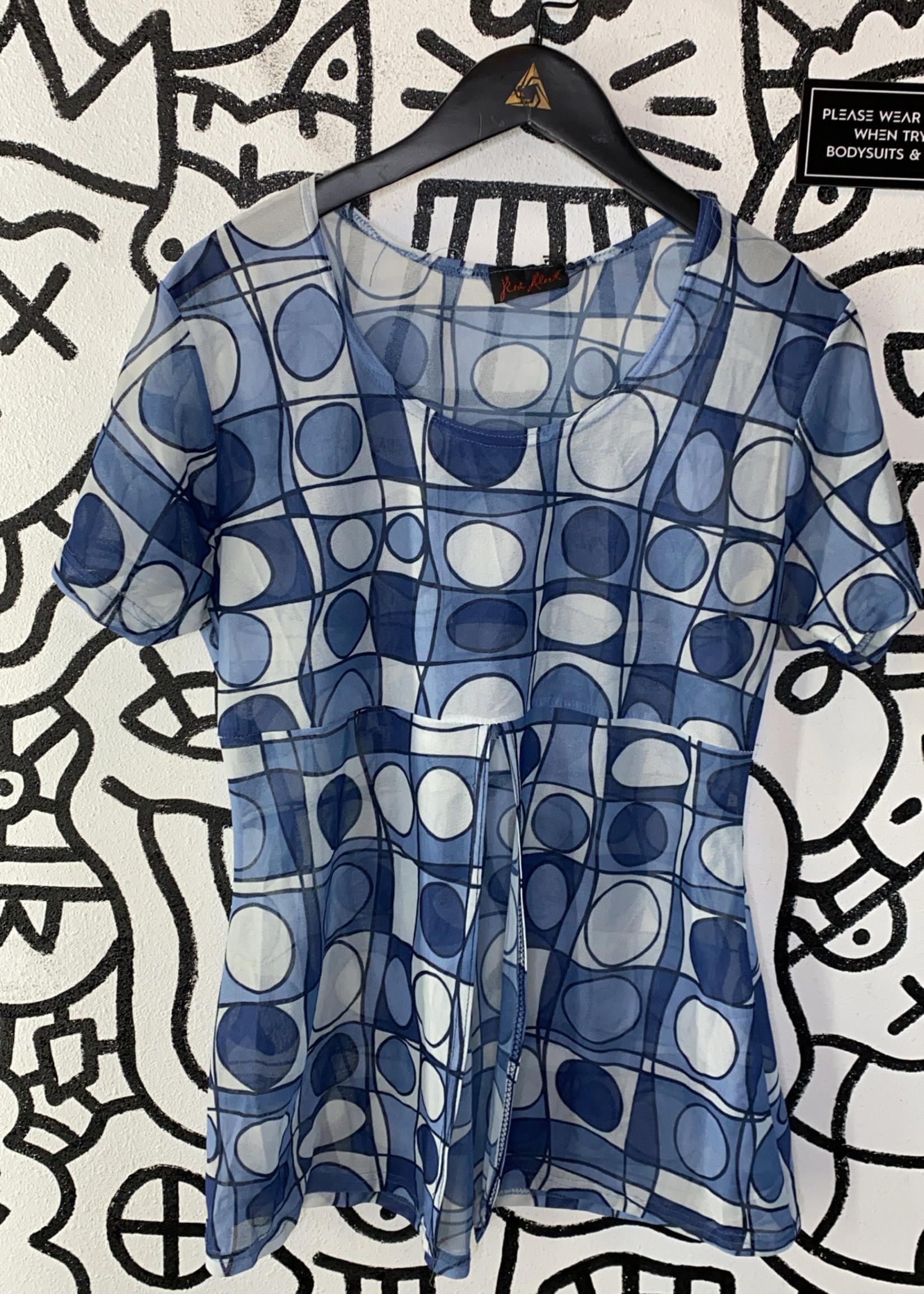 Vintage Red Alert blue pattern shirt L