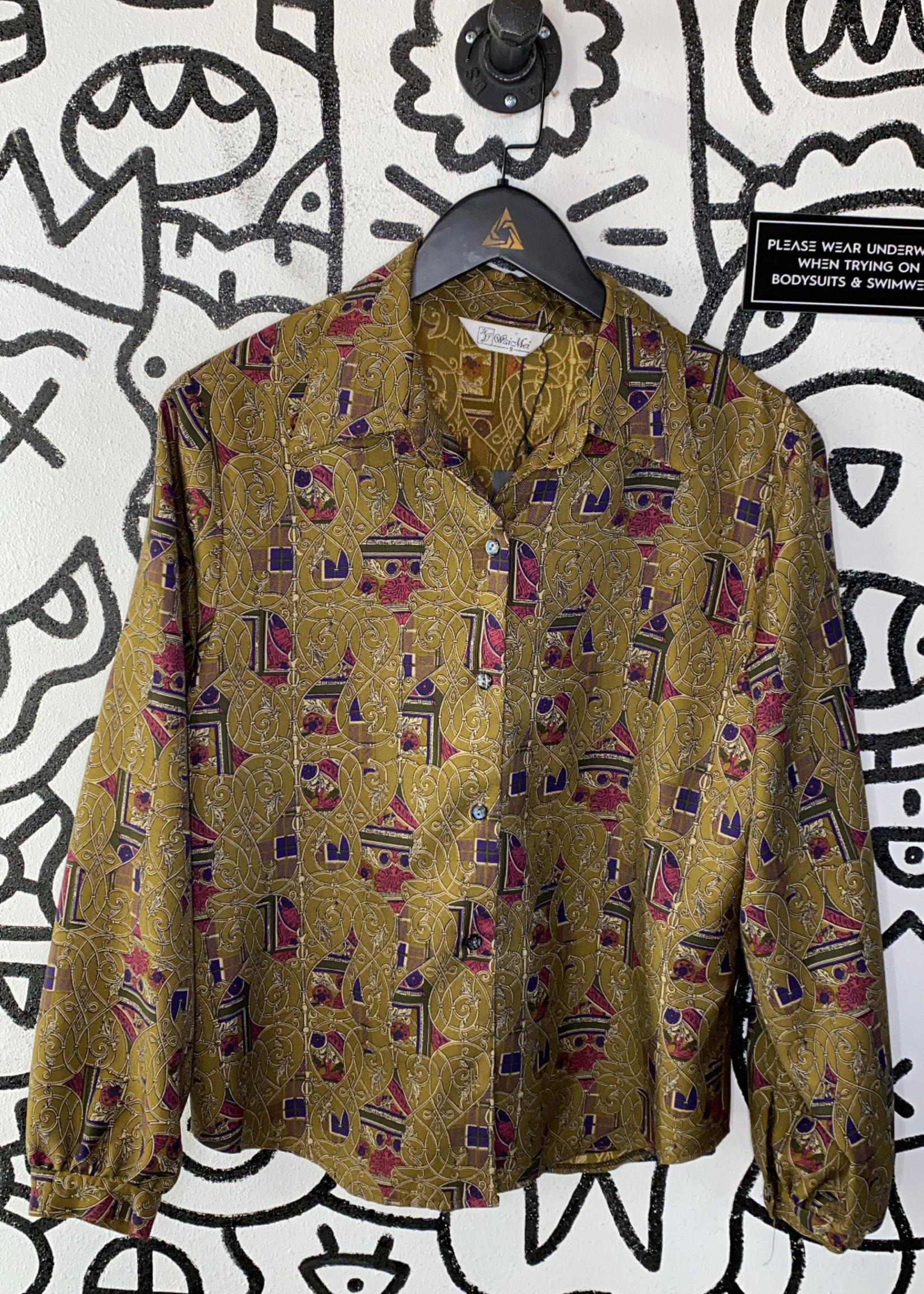 Vintage Wai Mei patterned blouse S