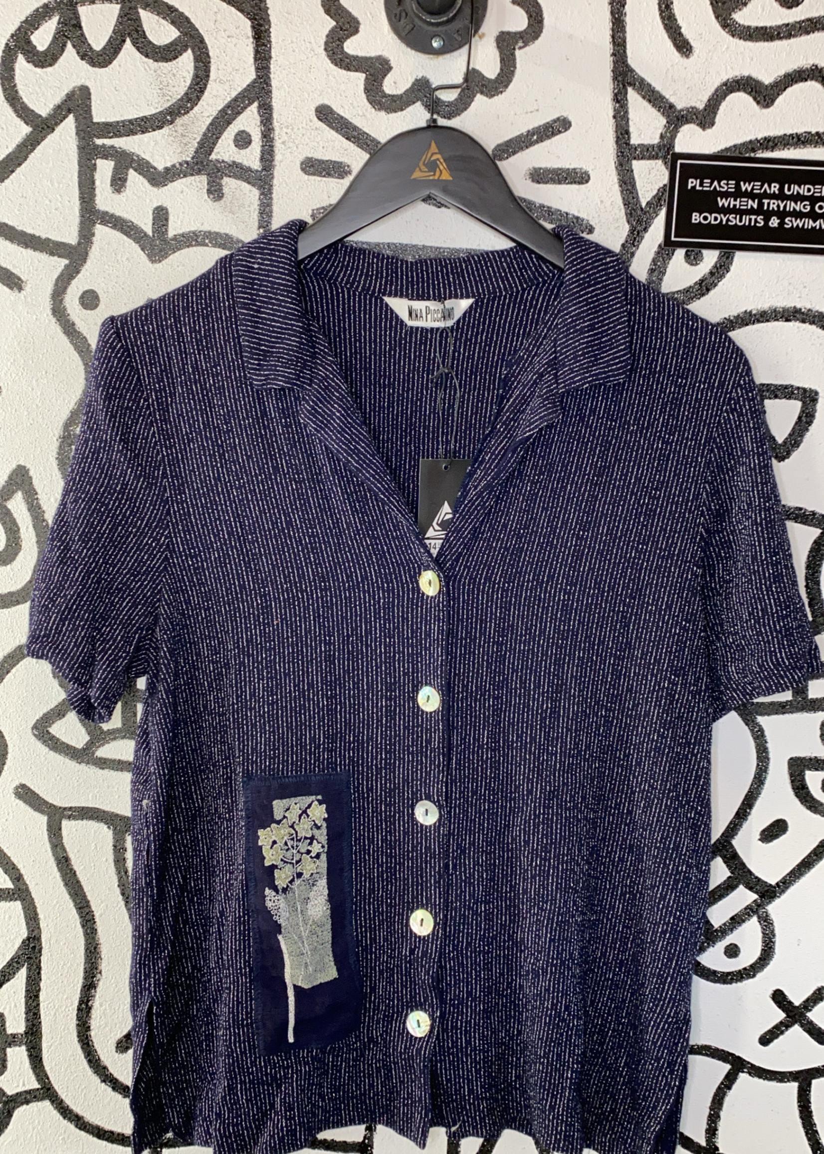 Vintage Nina Piccaino blue striped button L