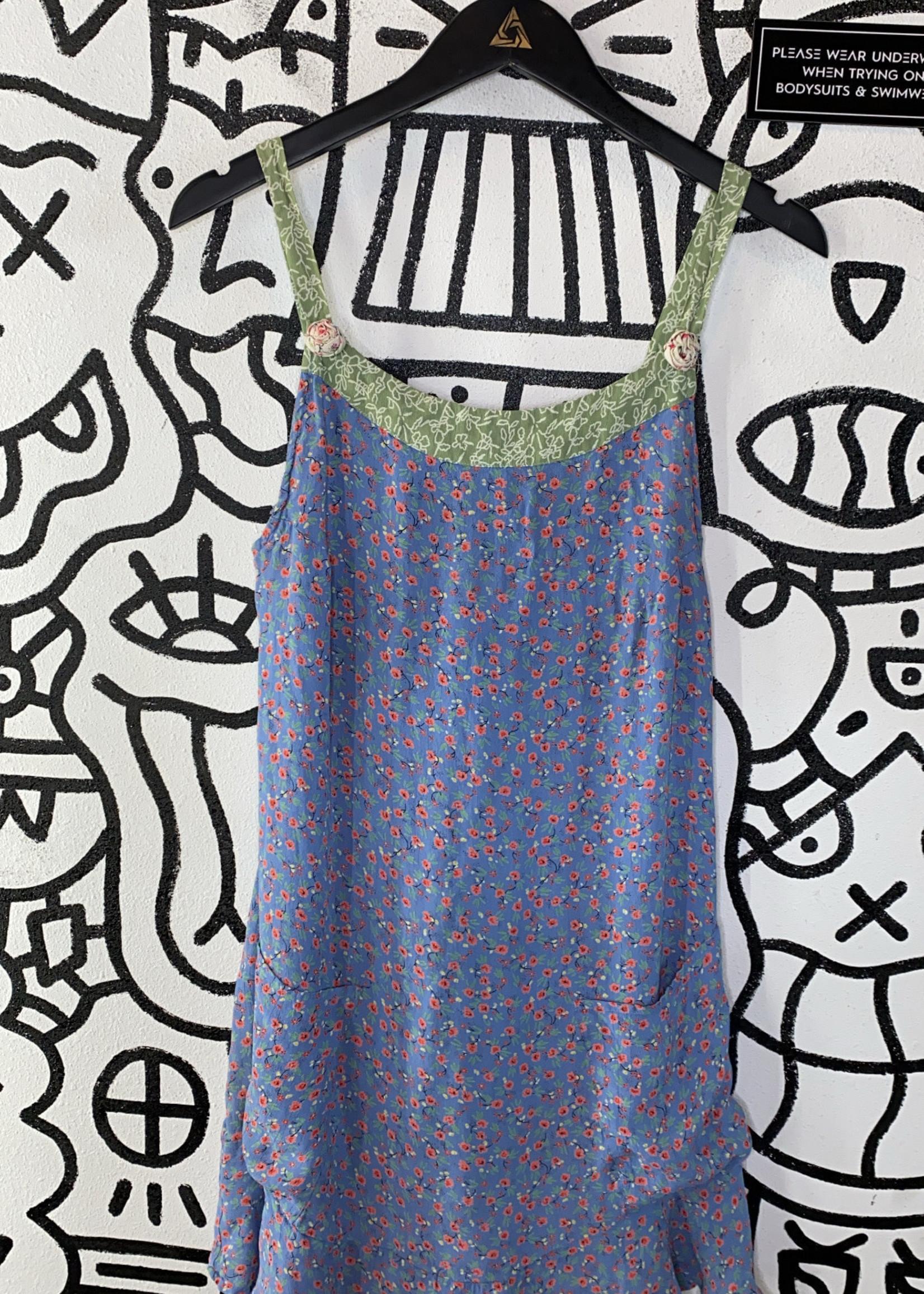 Carol Anderson Vintage Blue Floral Print Dress M