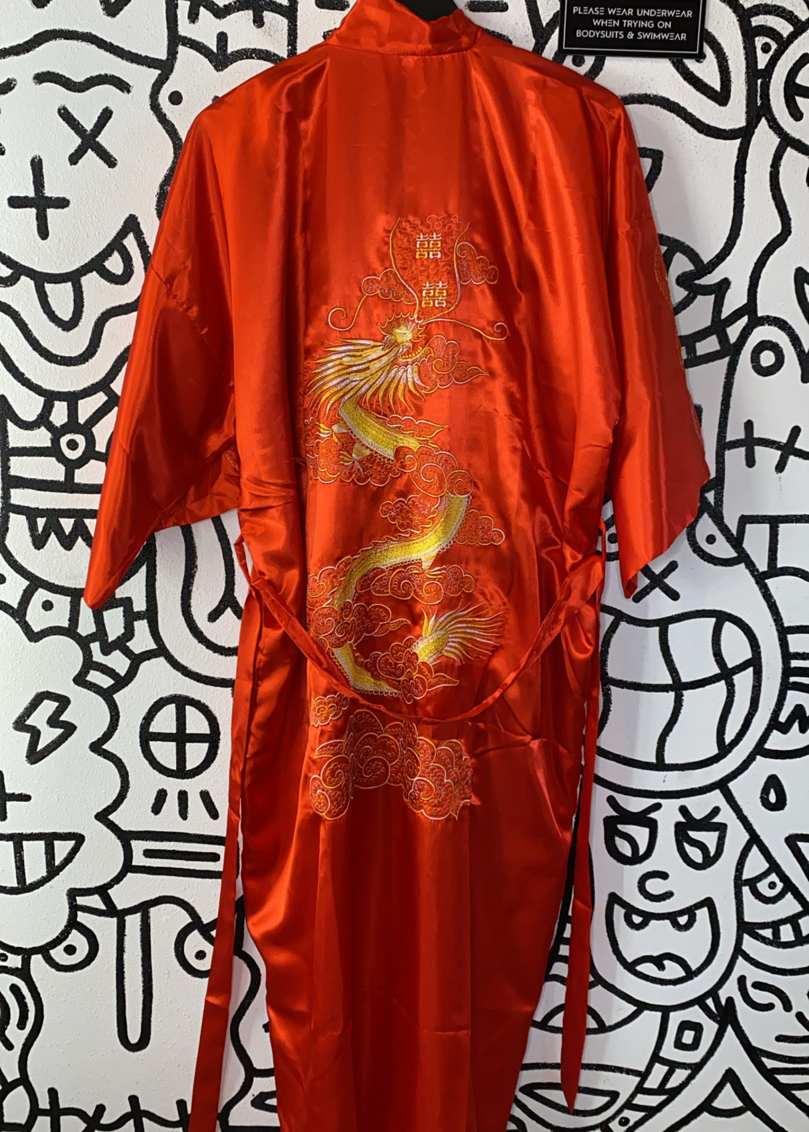 Vintage Kimono No Label Red Satin OS