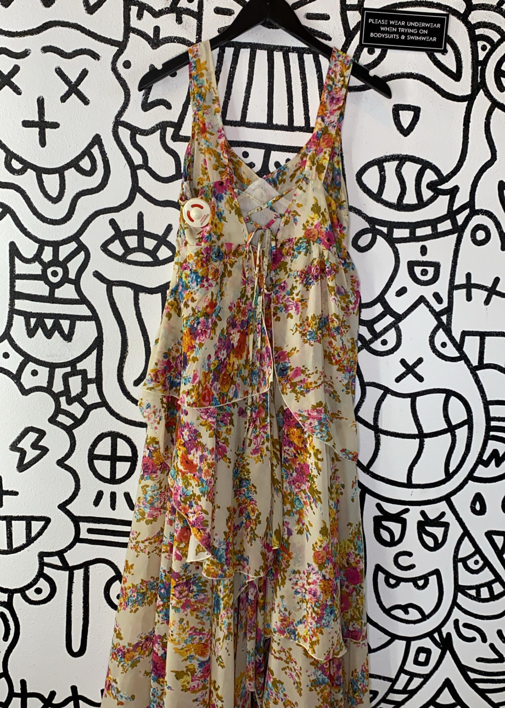 UNIF floral tan long dress S