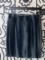 Vintage Adrienne Landau Black Faux Fur Skirt XS