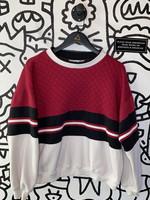 Vintage Active Wear Maroon Black White Colorblock Crewneck XL