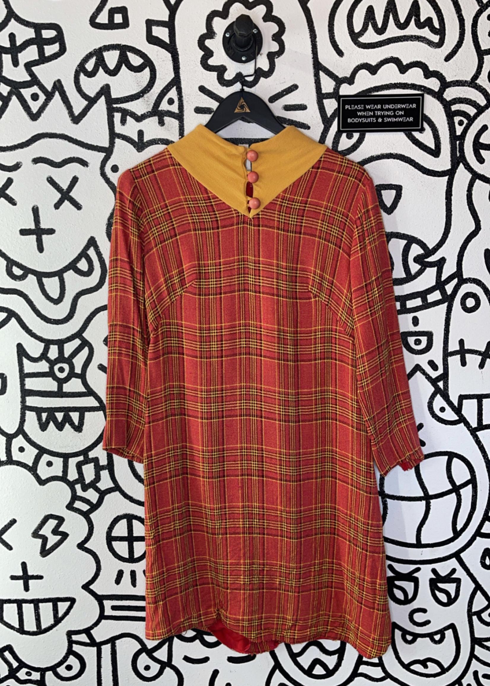No label '60s vintage orange plaid long sleeve dress M