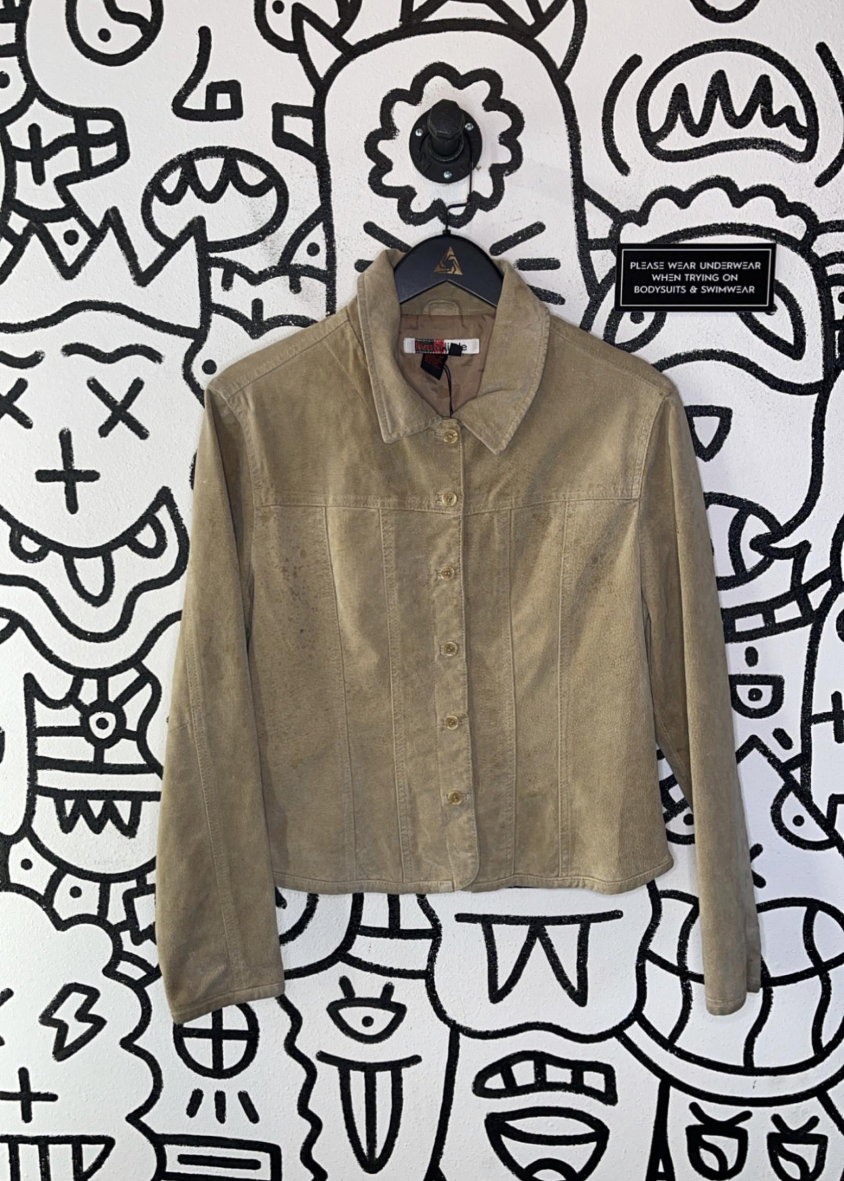 Live a little tan suede button up jacket M