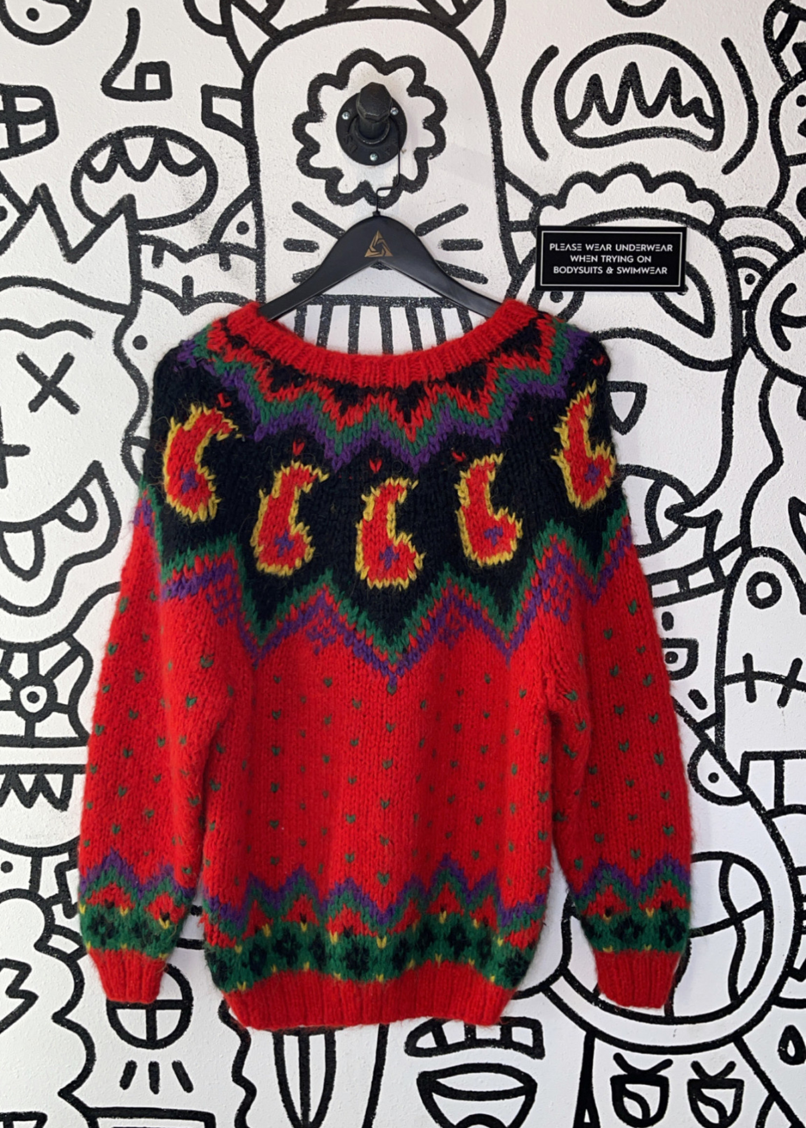 Vintage classix Red Knit Sweater M