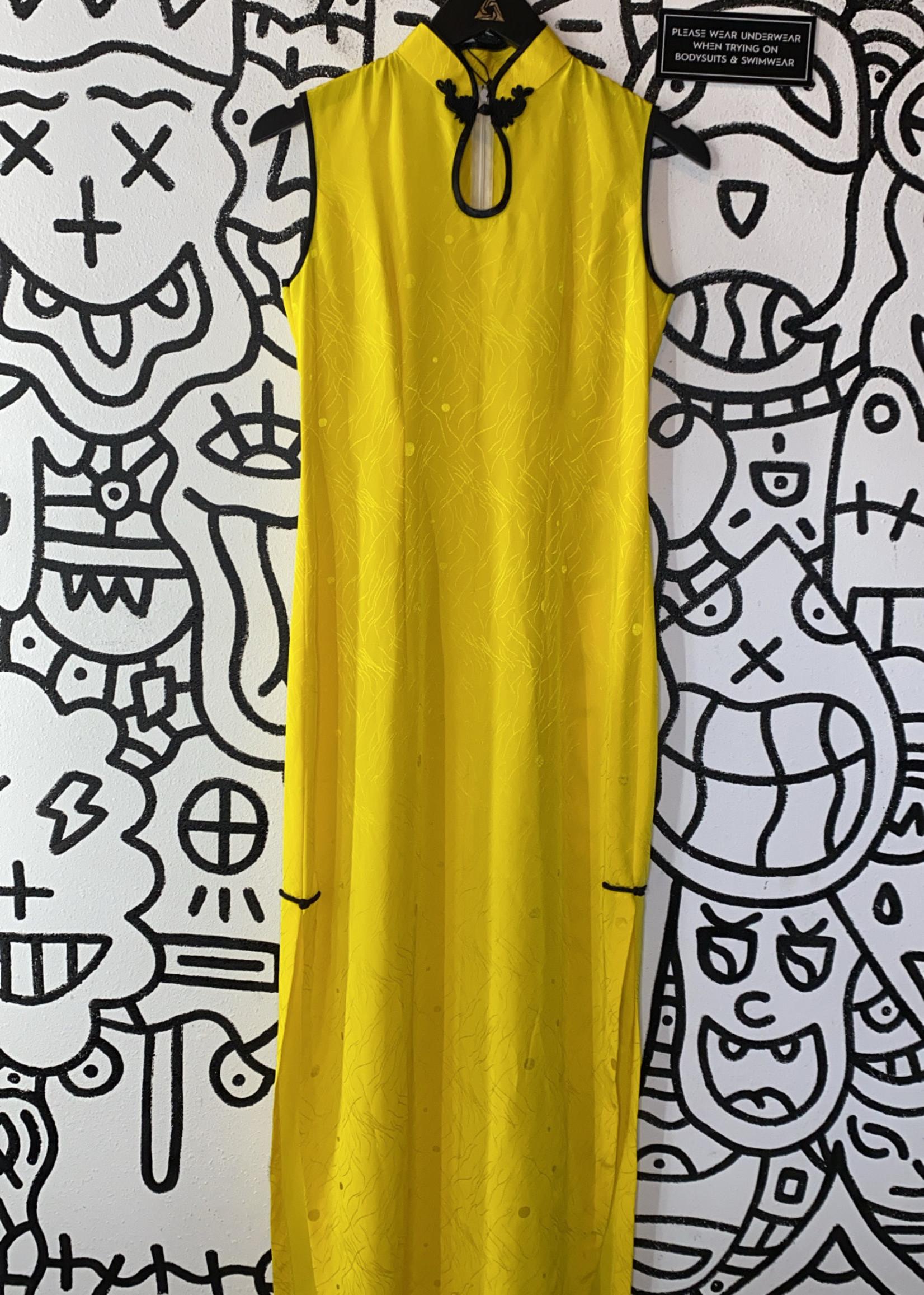 Vintage No Label Yellow Keyhole Oriental Dress S