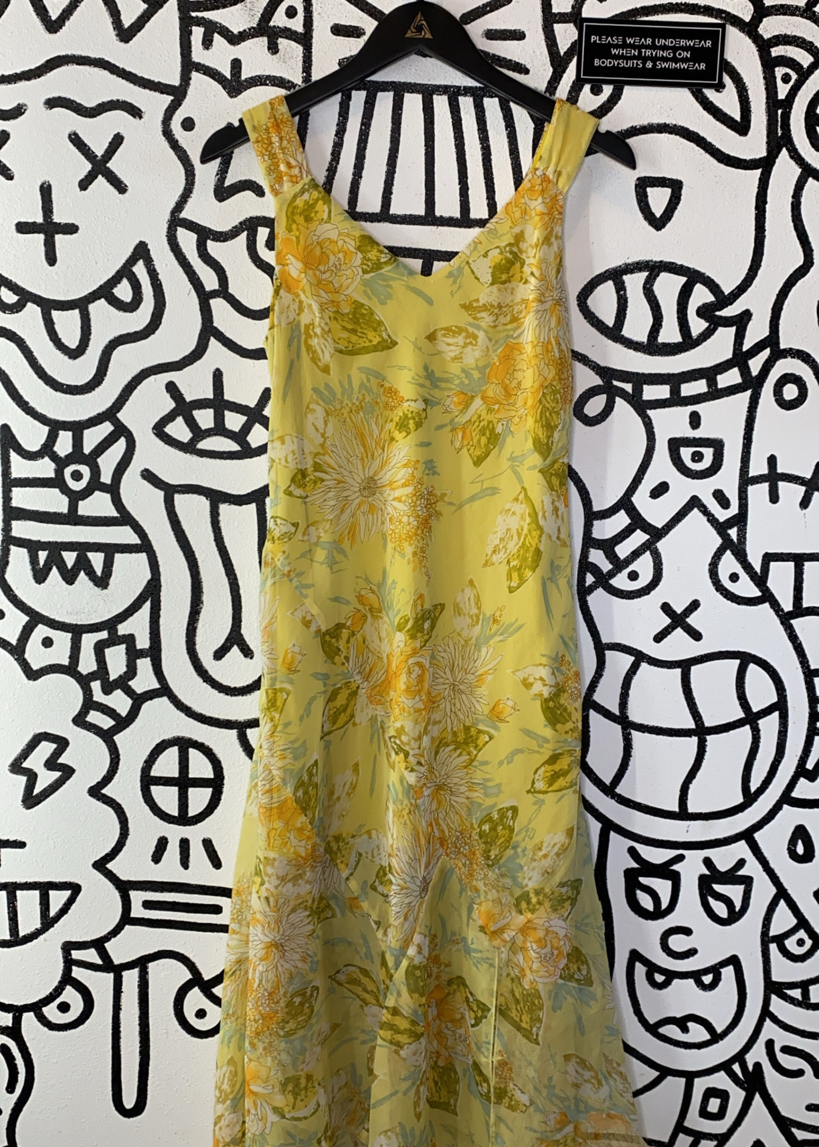 Connected Apparel Yellow Floral Print Dress 10/M