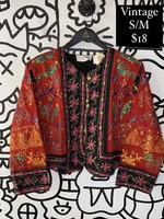 Vintage Passports Red Embroidered Jacket S