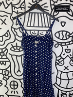 Moda International Vintage Blue Polka Dot Dress 6/S
