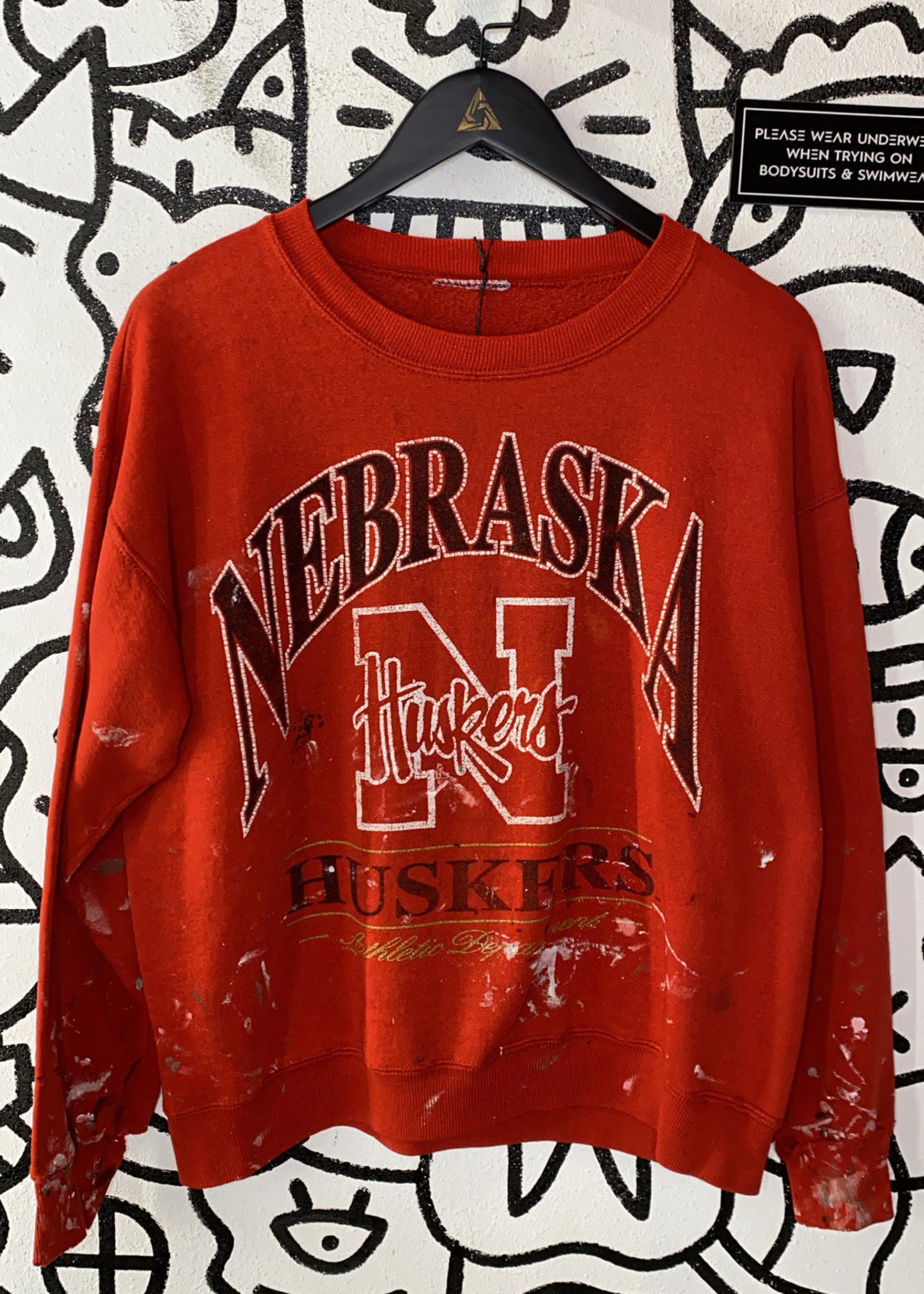 Vintage Nebraska Huskers Red Painted in Crewneck As Is M