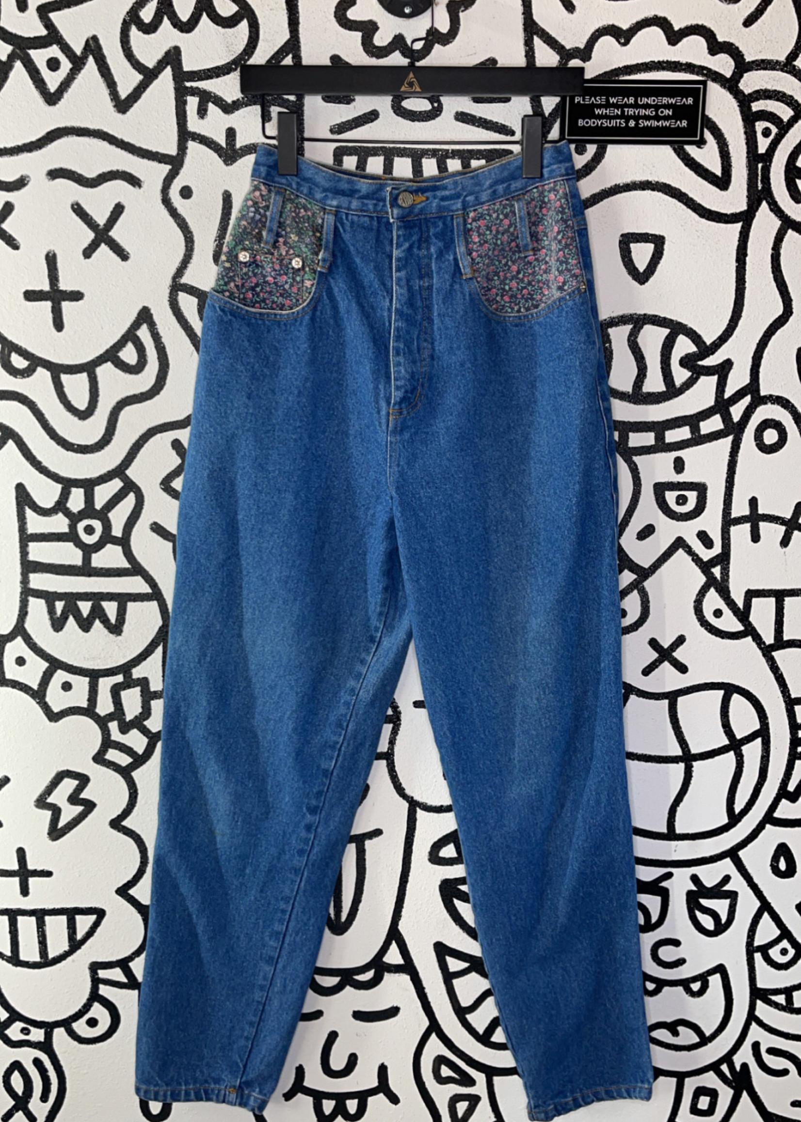 Vintage gitano high waisted floral denim jeans 26