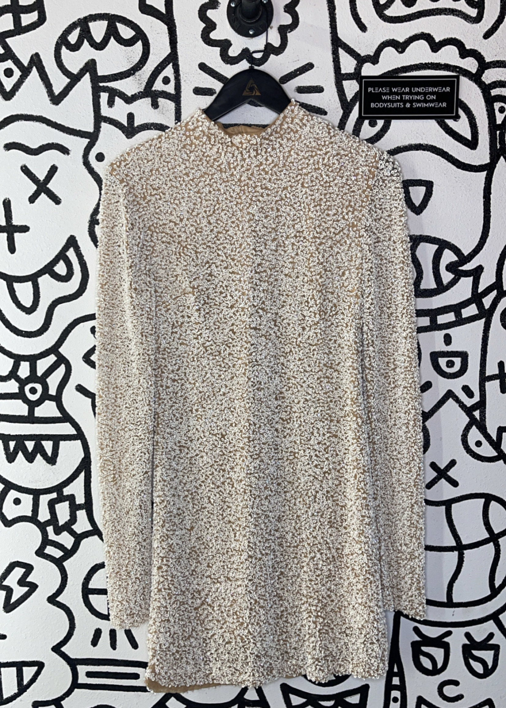 Free people white sequin dress M