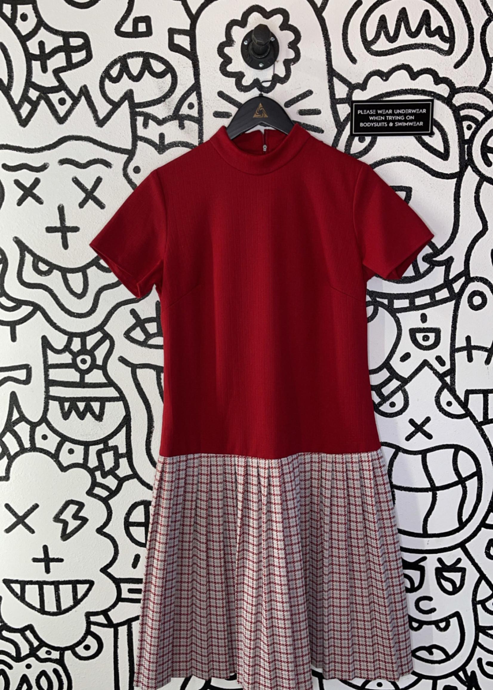 Vintage linda matthews red plaid dress L