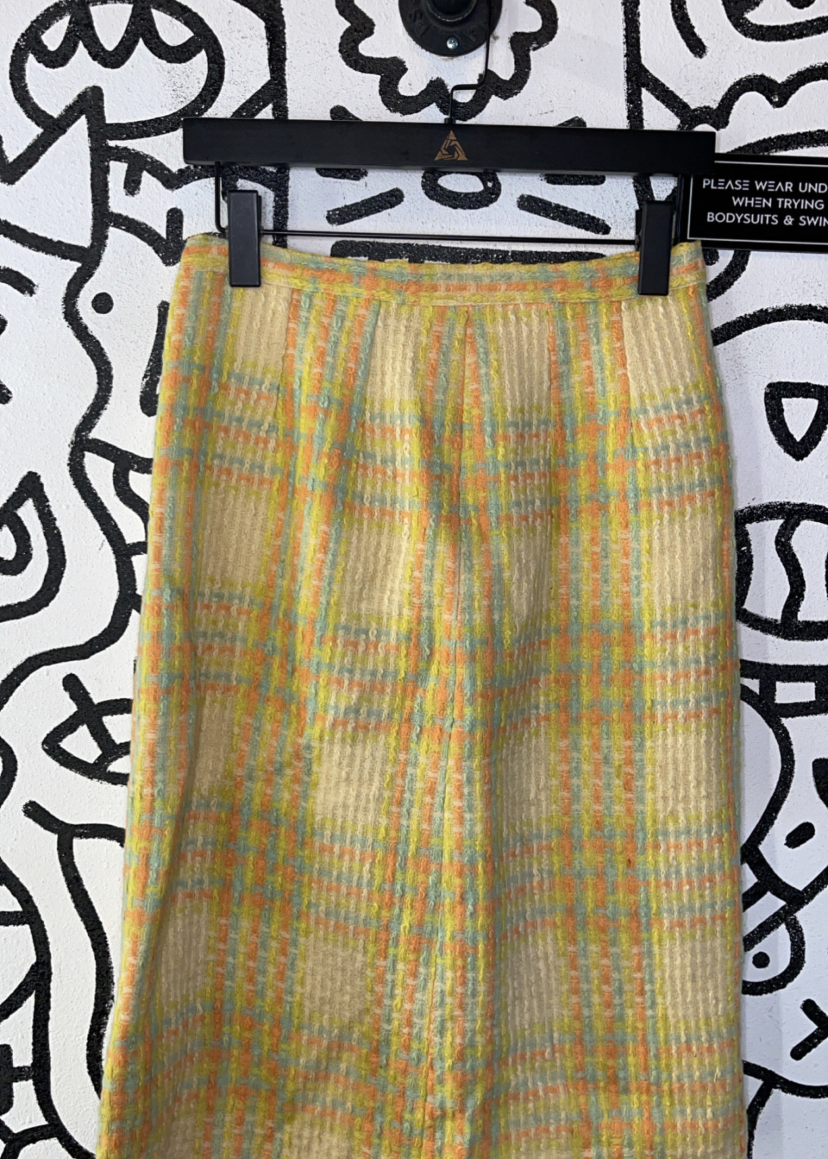 Vintage no label multi color thread skirt 28