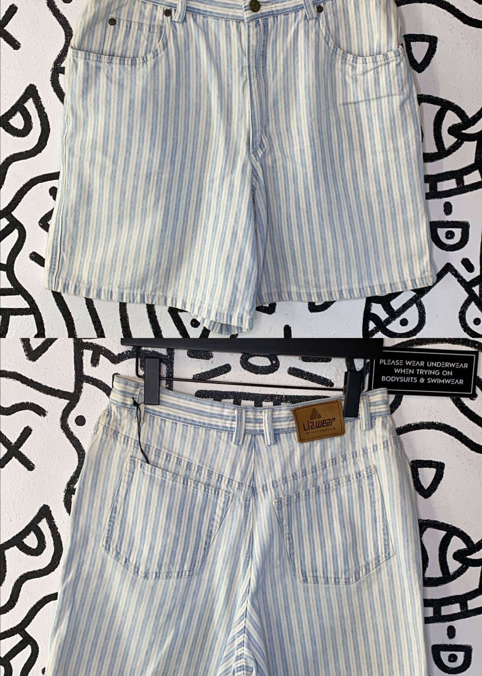 "Lizwear White Blue Striped Vintage Shorts 30"""