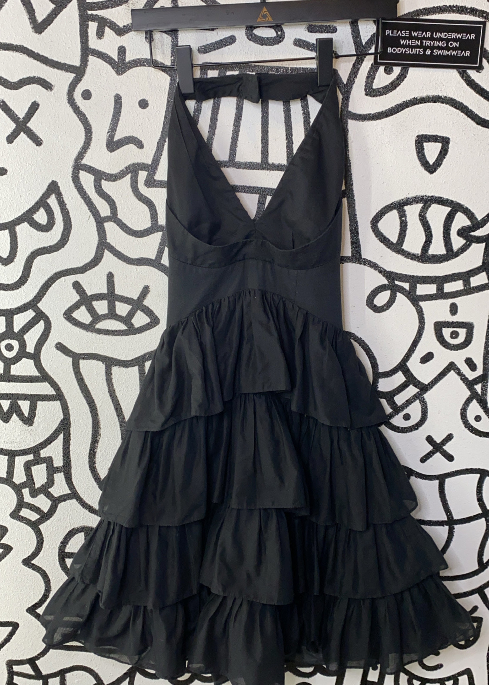 Betsey Johnson Black Halter Layered Ruffle Dress 2/XS