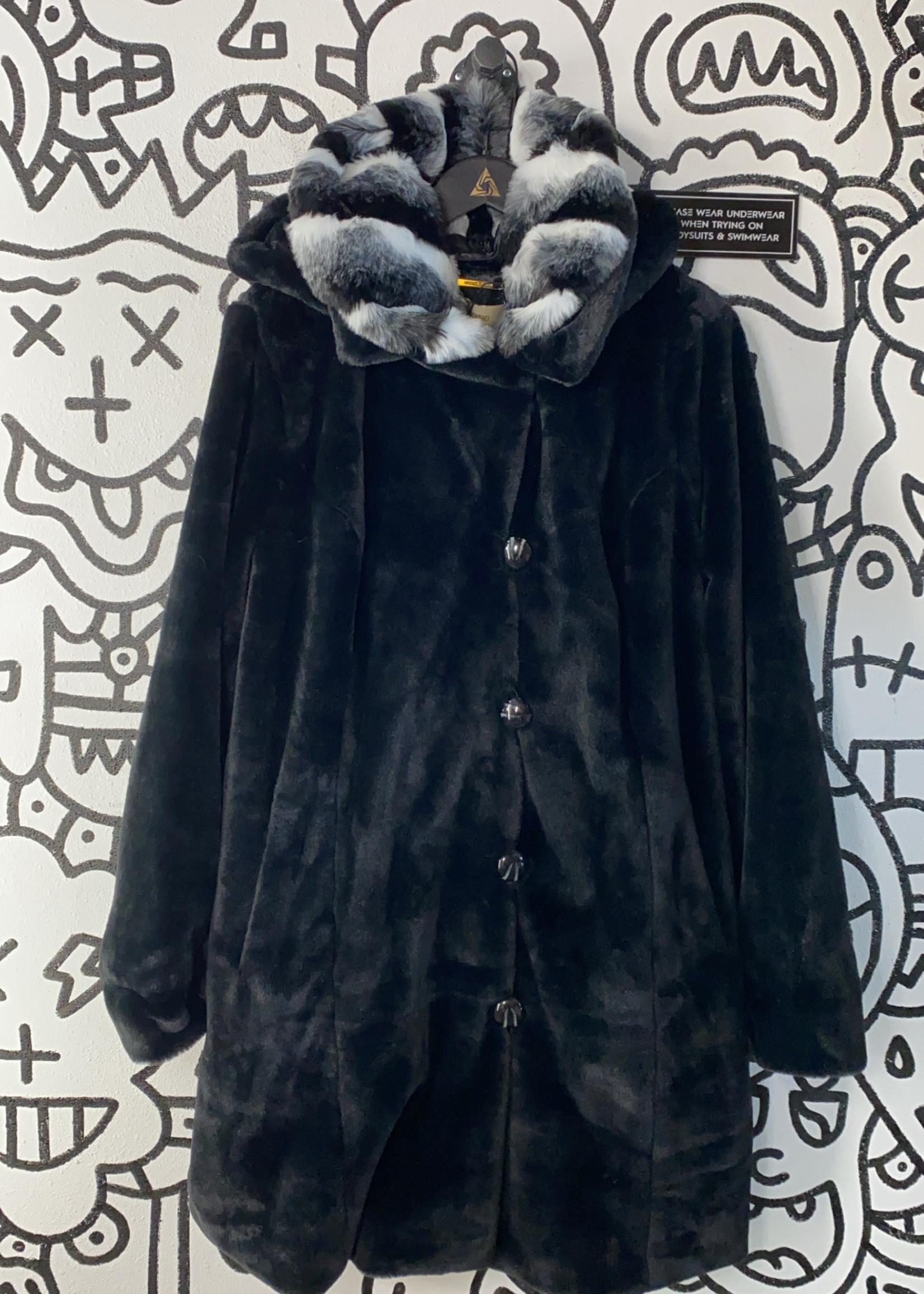 NWT dennis basso faux fur coat XXL