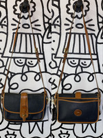 Dooney & Bourke Vintage Black Brown Leather Crossbody