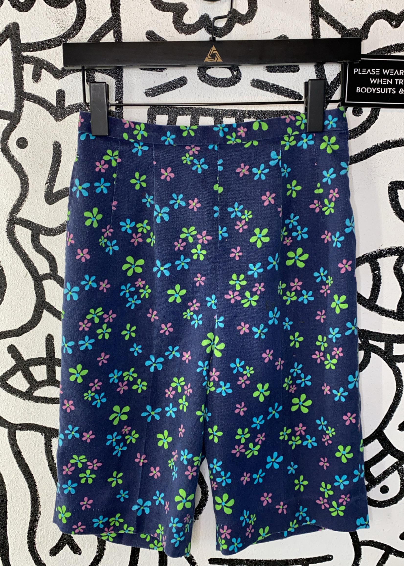 """Vintage Jack Winter Blue Floral Print Shorts 26""""/S"""