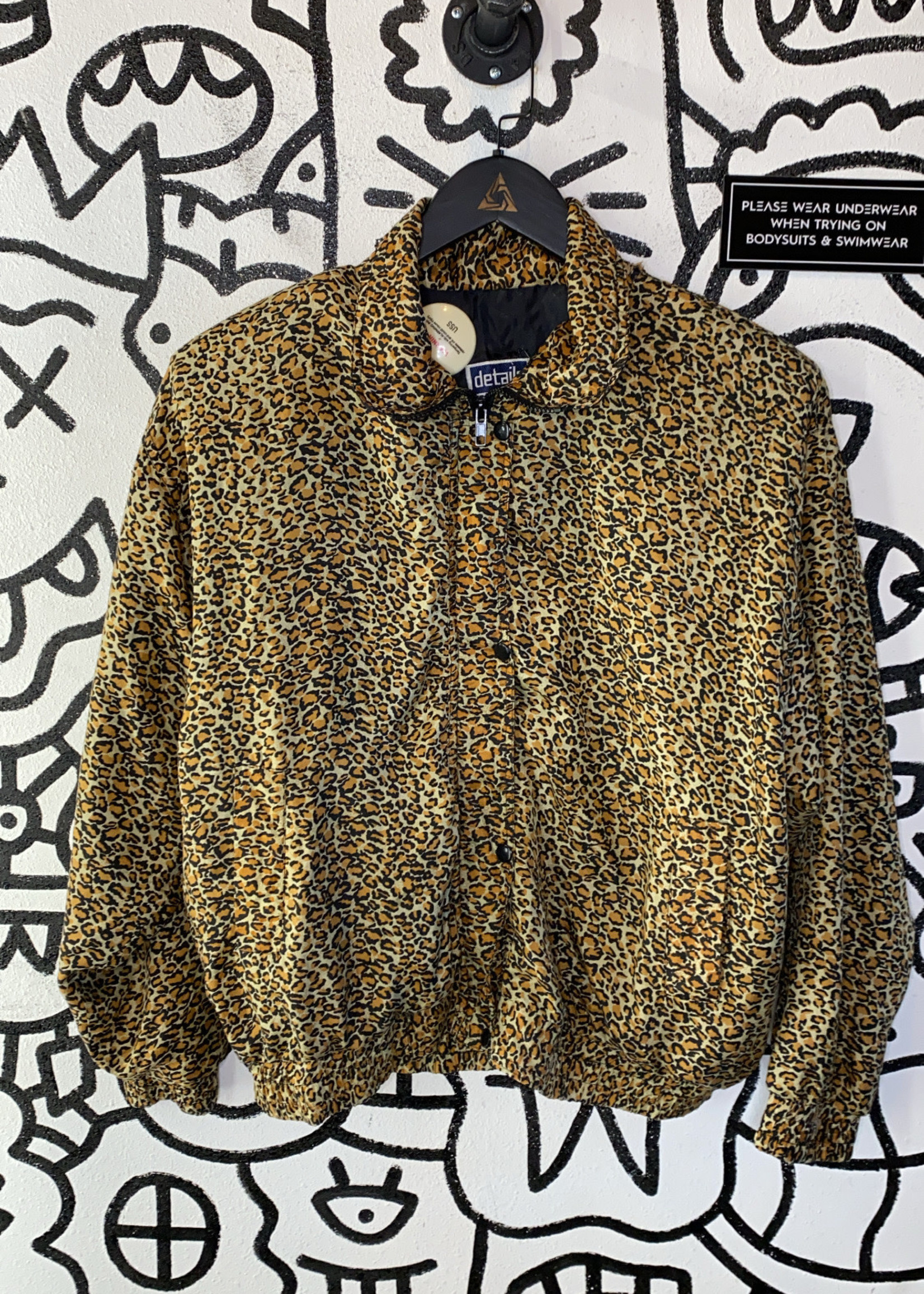 Vintage Details Sportswear Cheetah Silk Bomber M