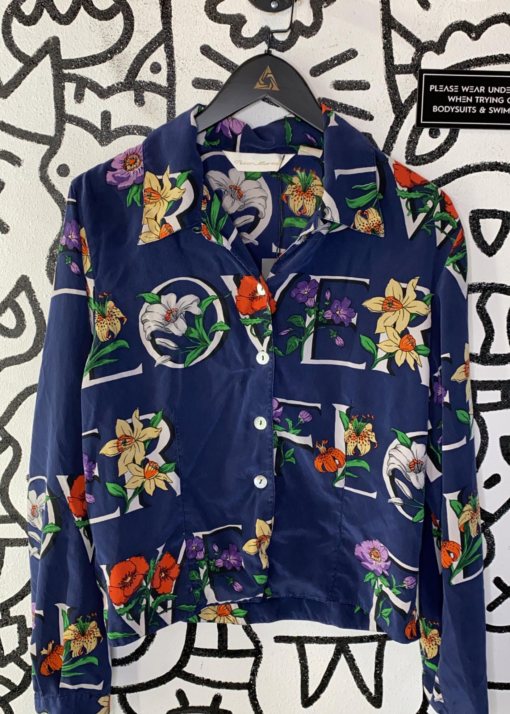 Peter Martin Silk Blue Floral Print Button Down M