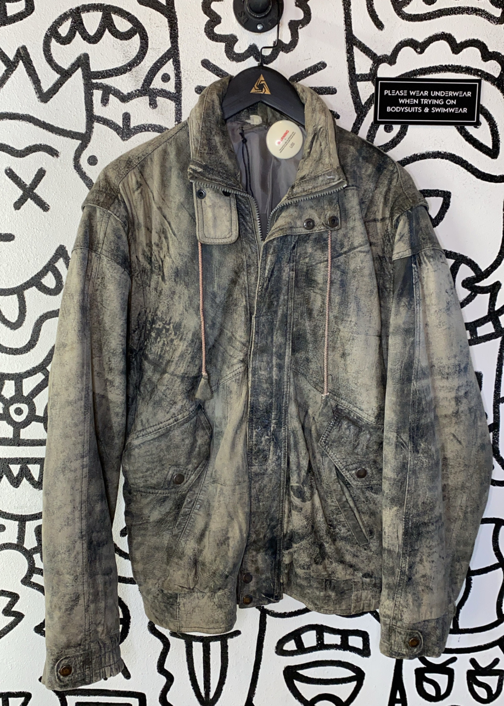 Vintage No Label Gray Distressed Leather Bomber L