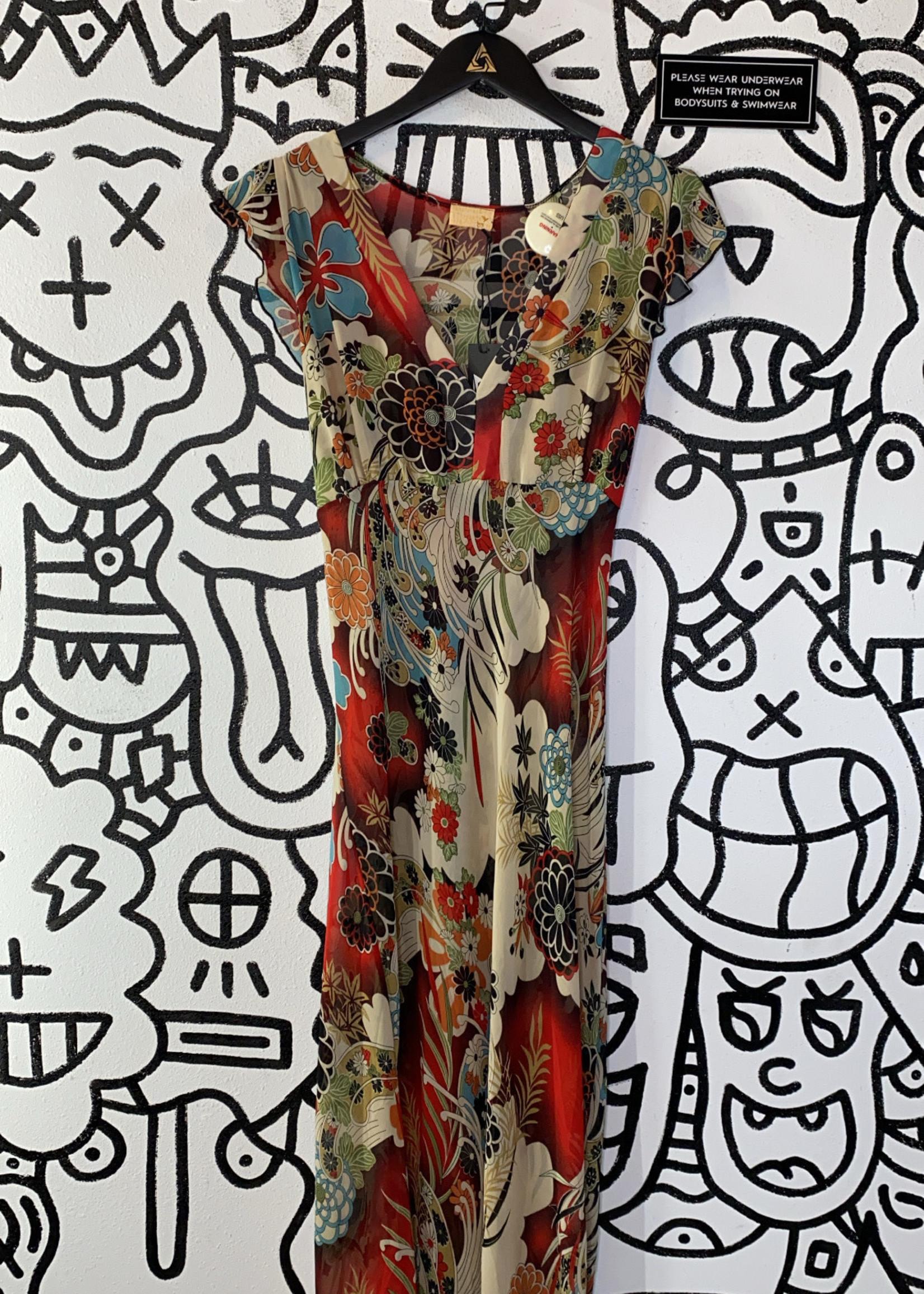 153 Vintage Red Floral Print Sheer Dress L