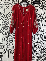 Free People Red Embroidered Romper XS