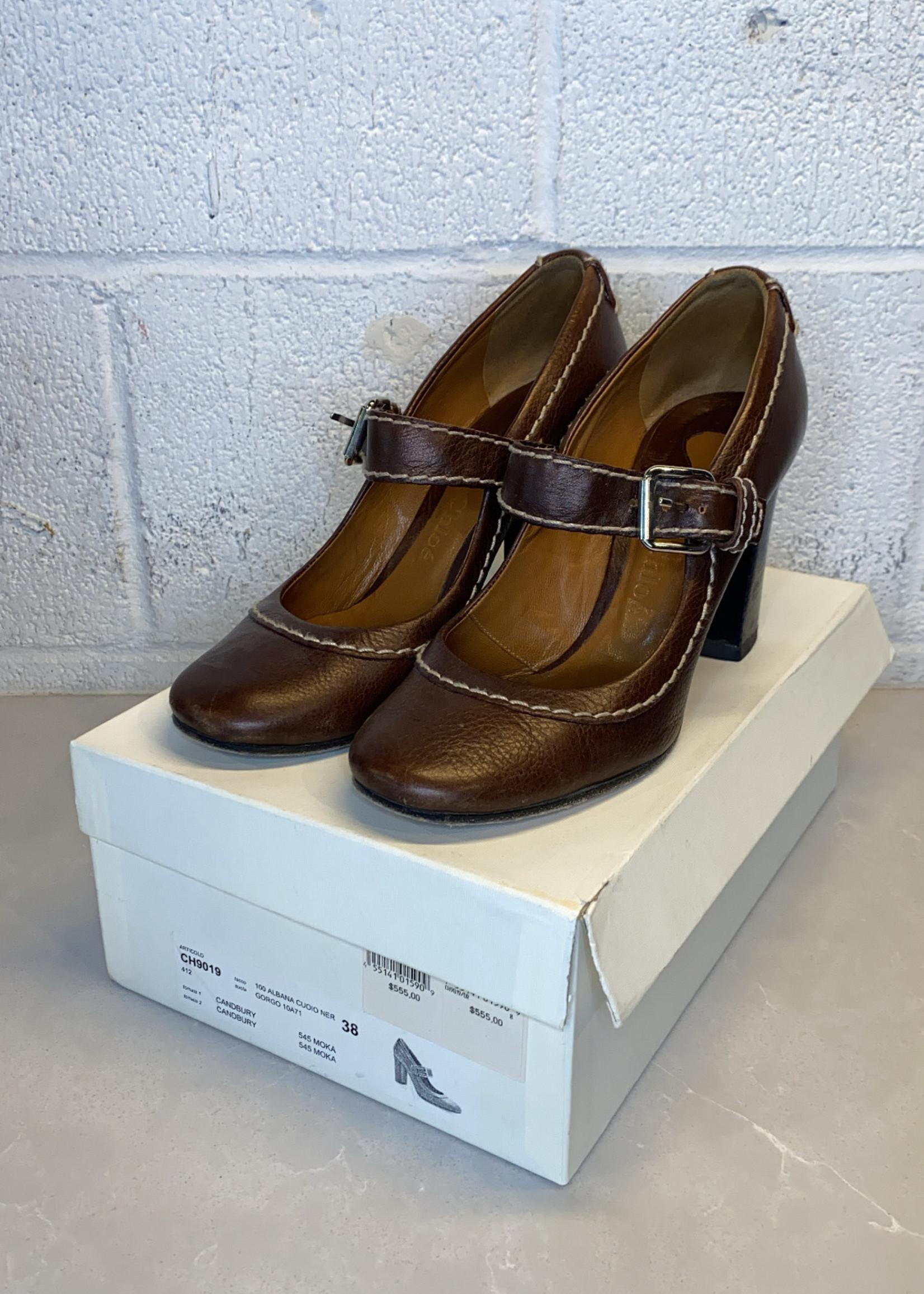 Chloe Candbury Brown Leather Heels (Retail: $555) 38