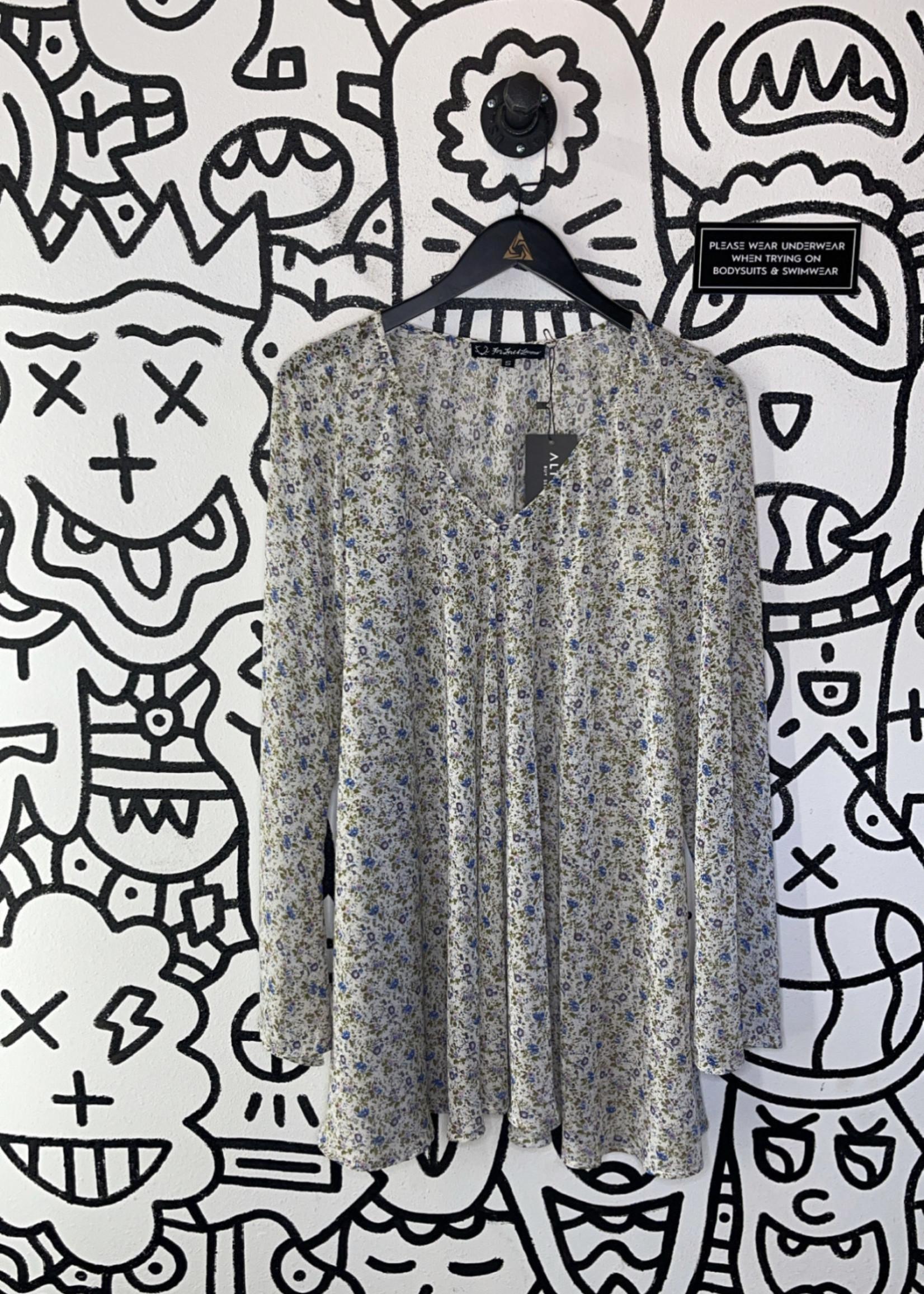 For Love & Lemons White Sheer Floral Print Dress S
