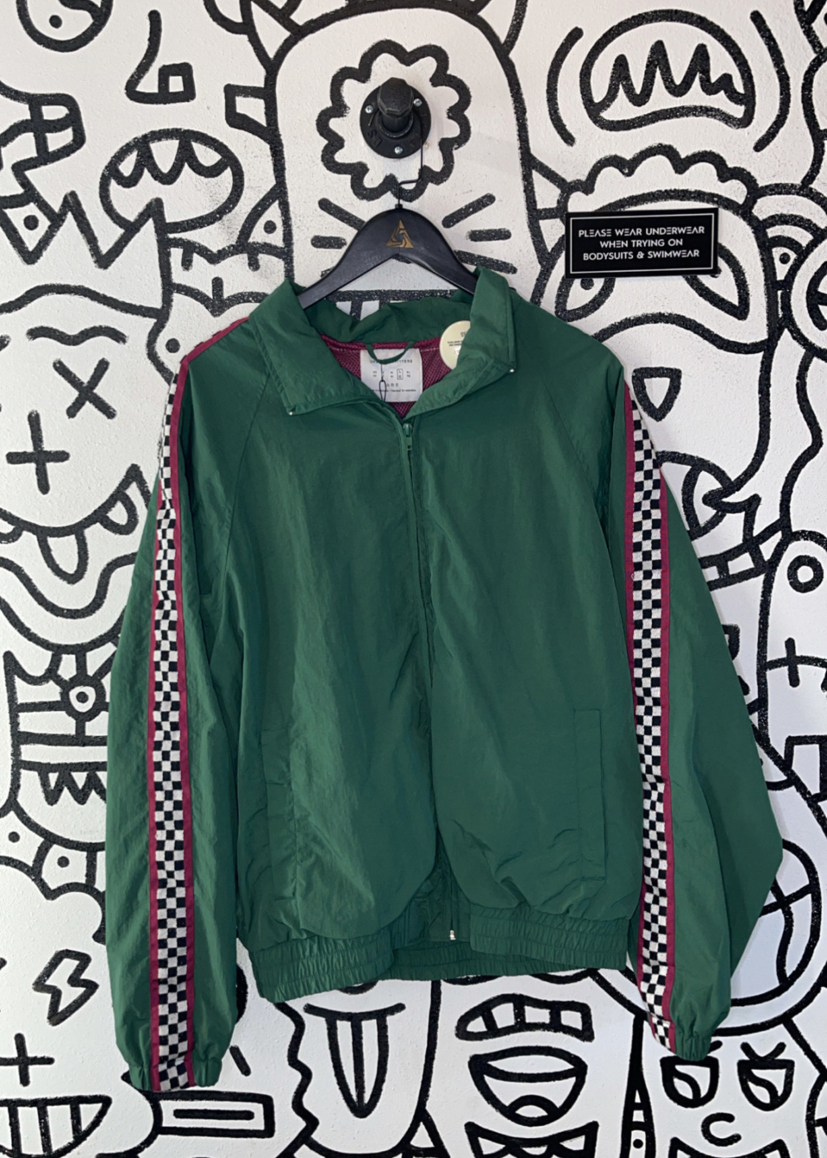 Urban outfitters green checkered windbreaker L