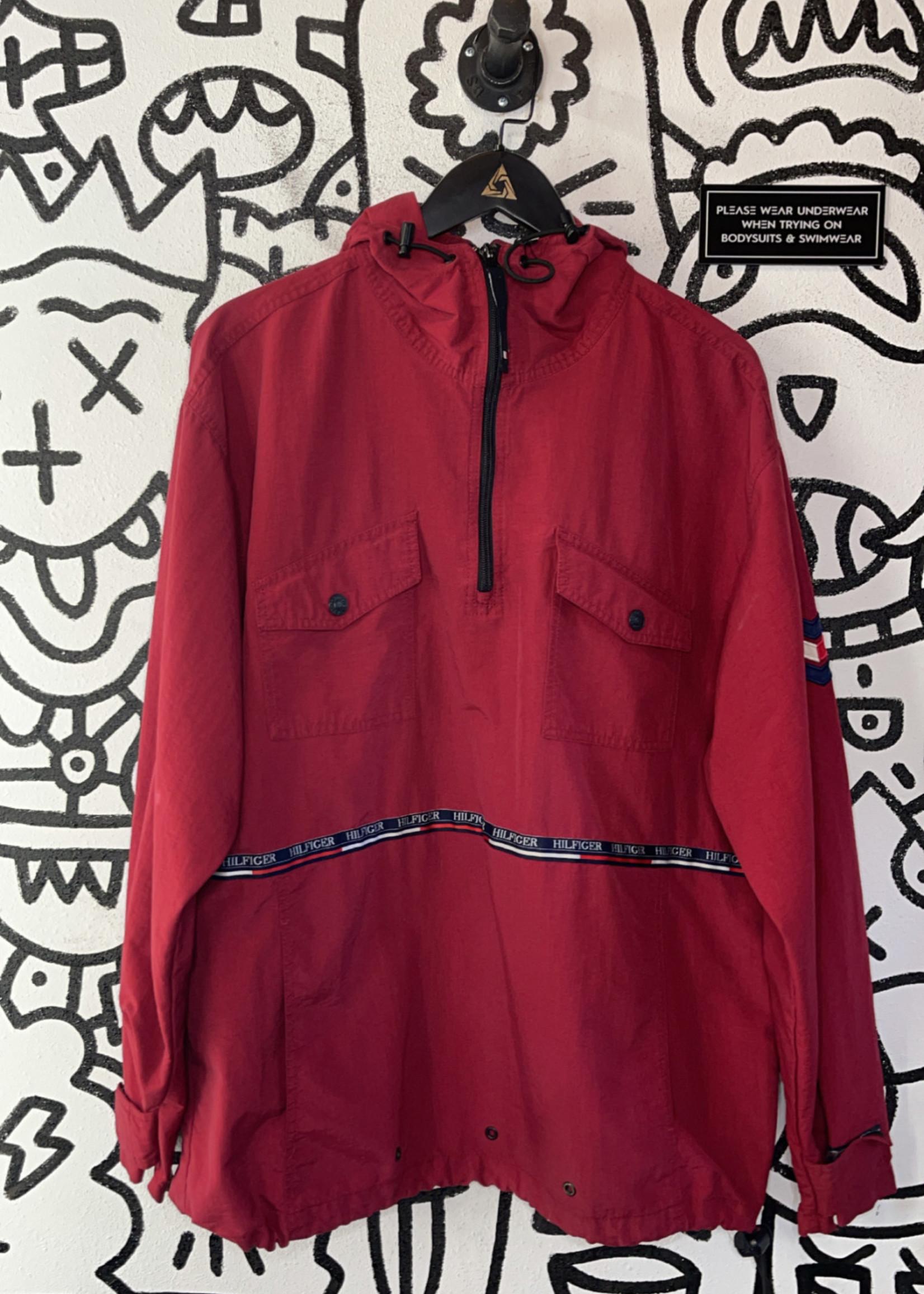 Vintage red tommy hilfiger hoodie jacket XL