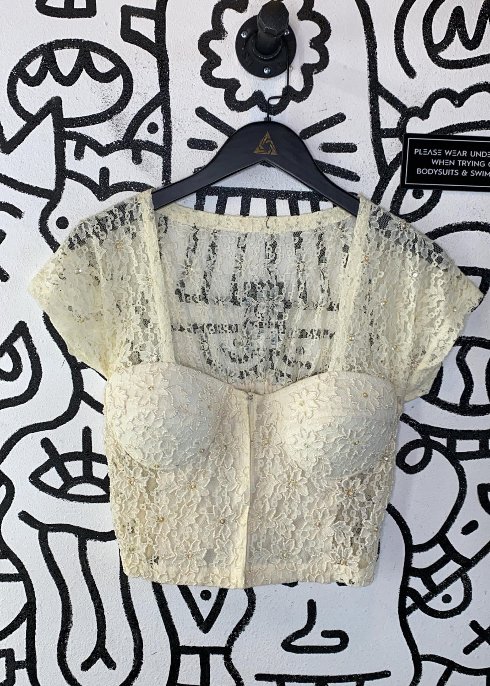 Vintage no label sequin lace top L