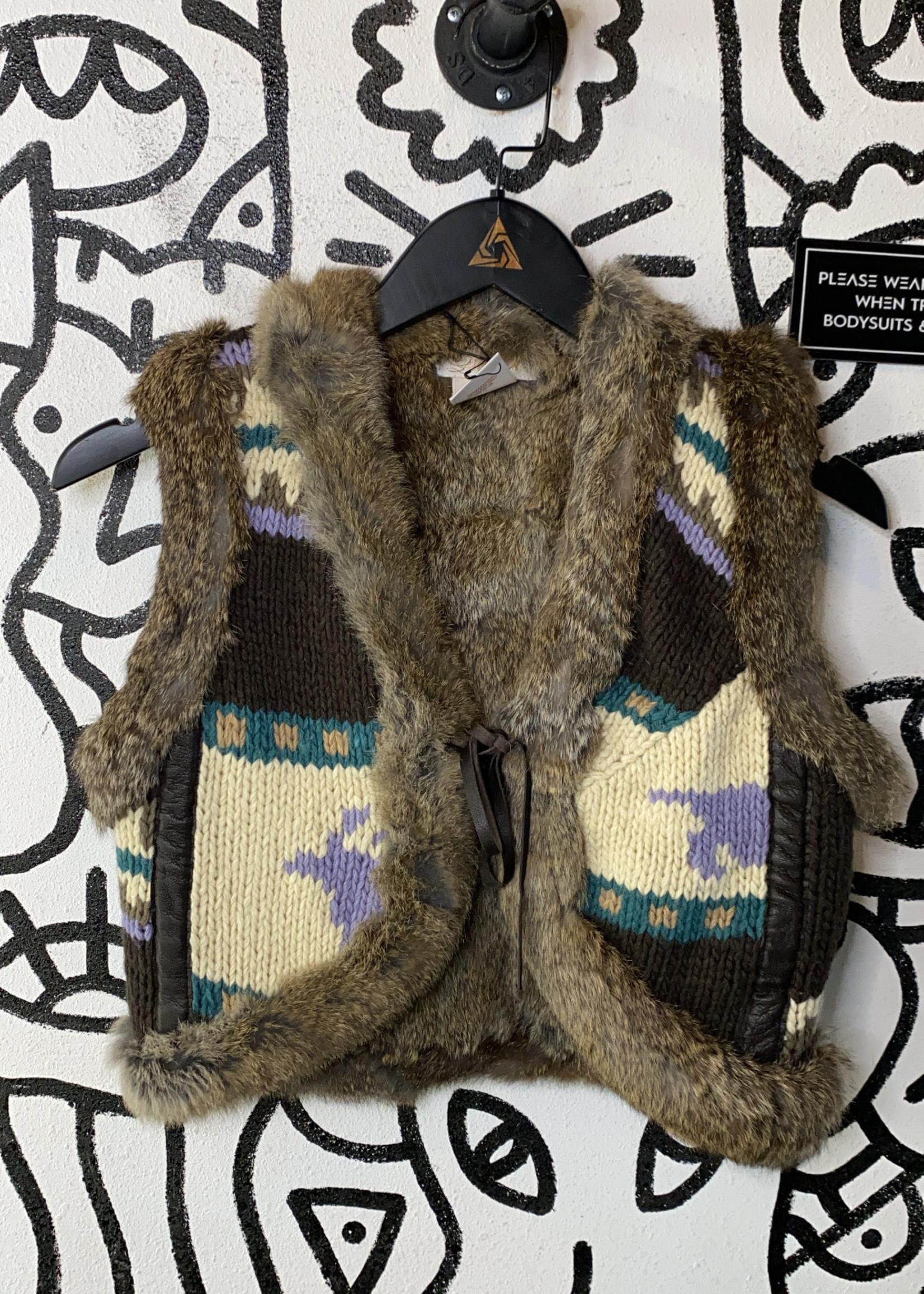 La Rok rabbit fur vest XS