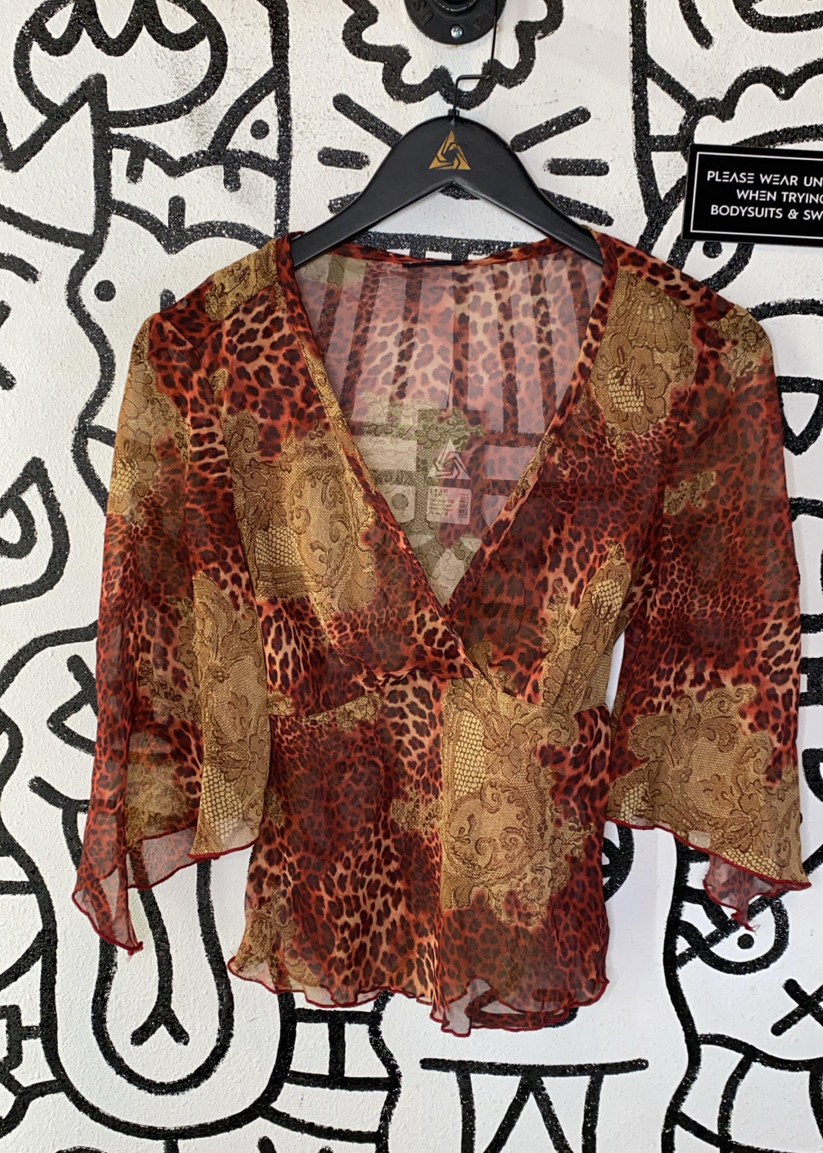 Juxtapose Y2K Cheetah Print Maroon Sheer Blouse M