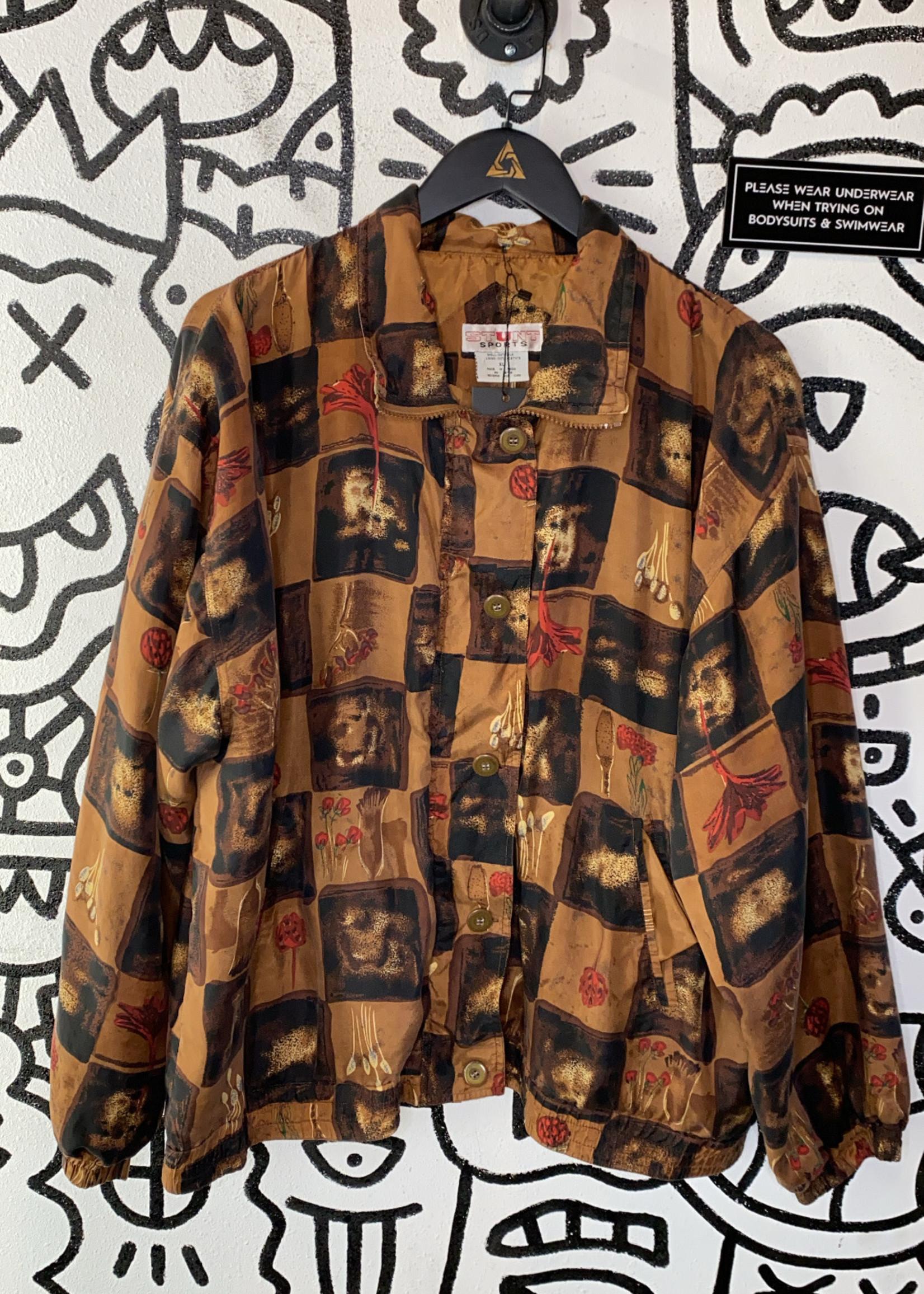 Stunt Sports Vintage Brown Black Checker Pattern Silk Bomber XL