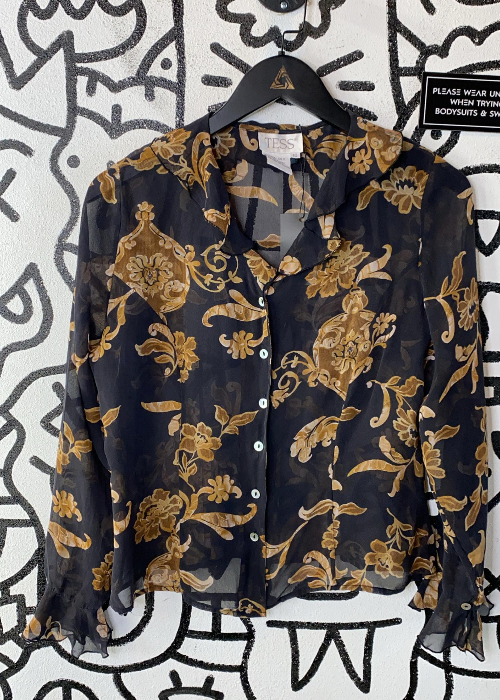 Tess Vintage Black Brown Design Silk Blouse 10/M