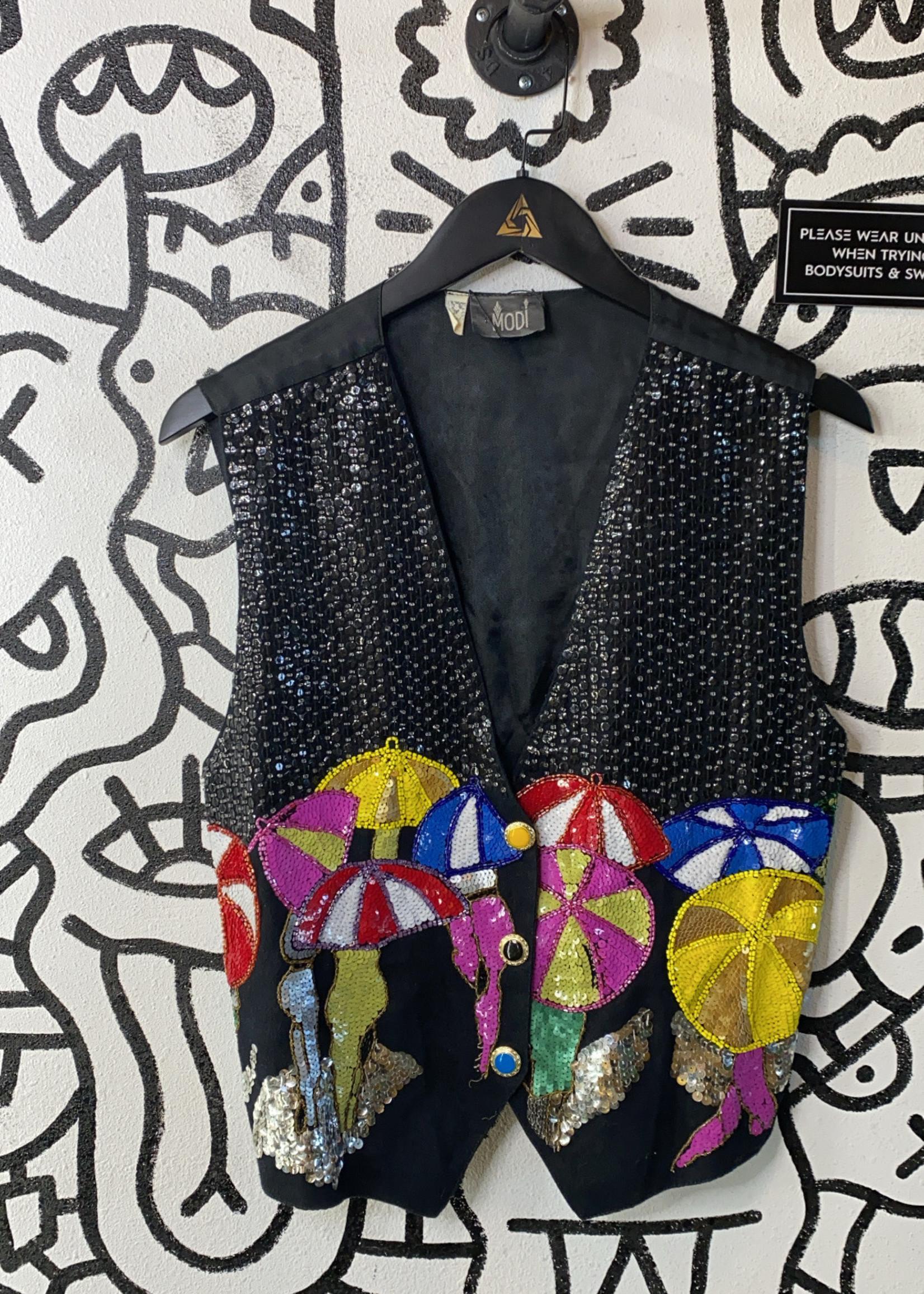 Vintage Modi Black Sequin Umbrella Sequin Vest L